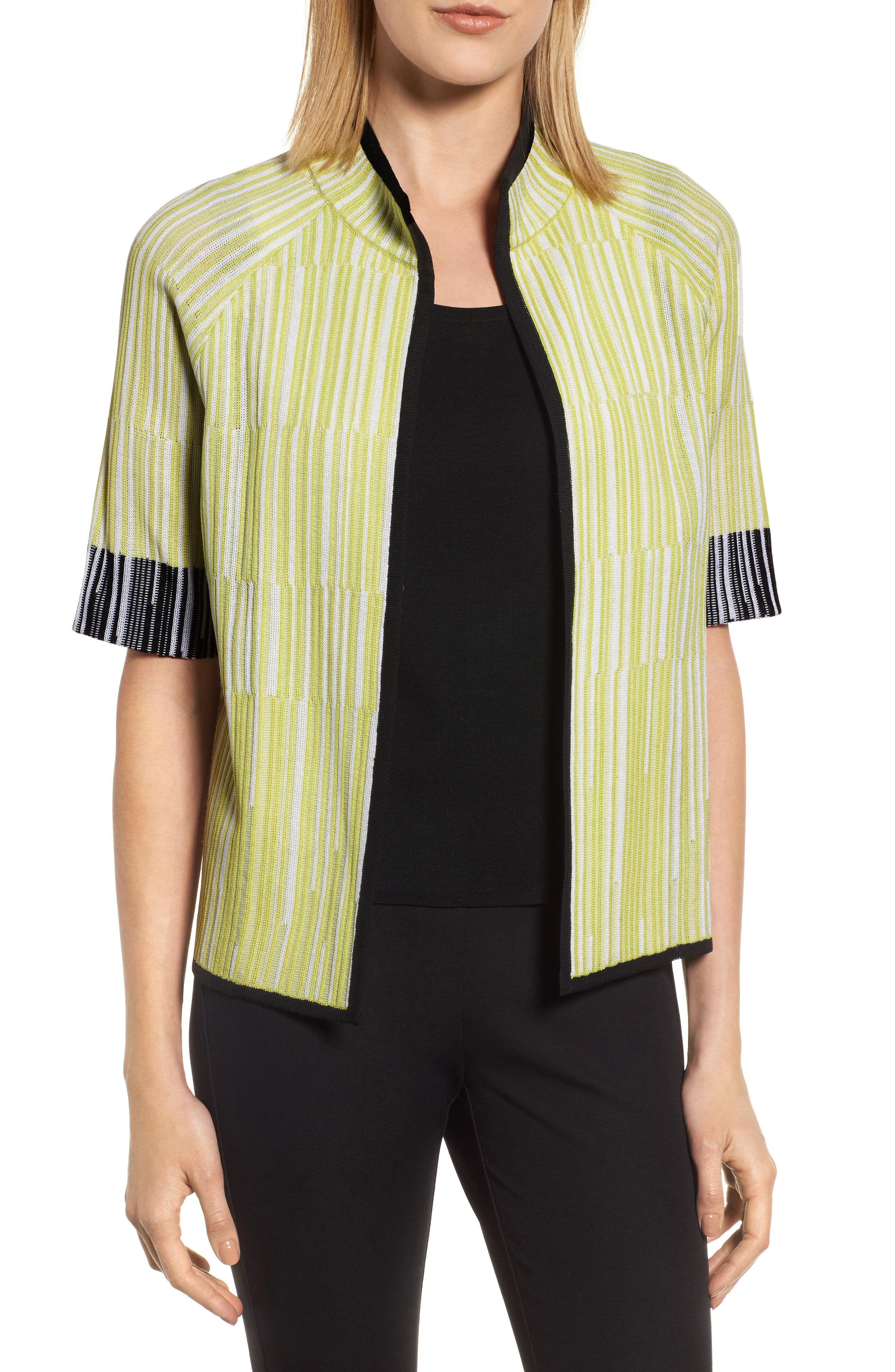 Short Sleeve Jacquard Jacket,                             Main thumbnail 1, color,                             AURORA/ BLACK/ WHITE
