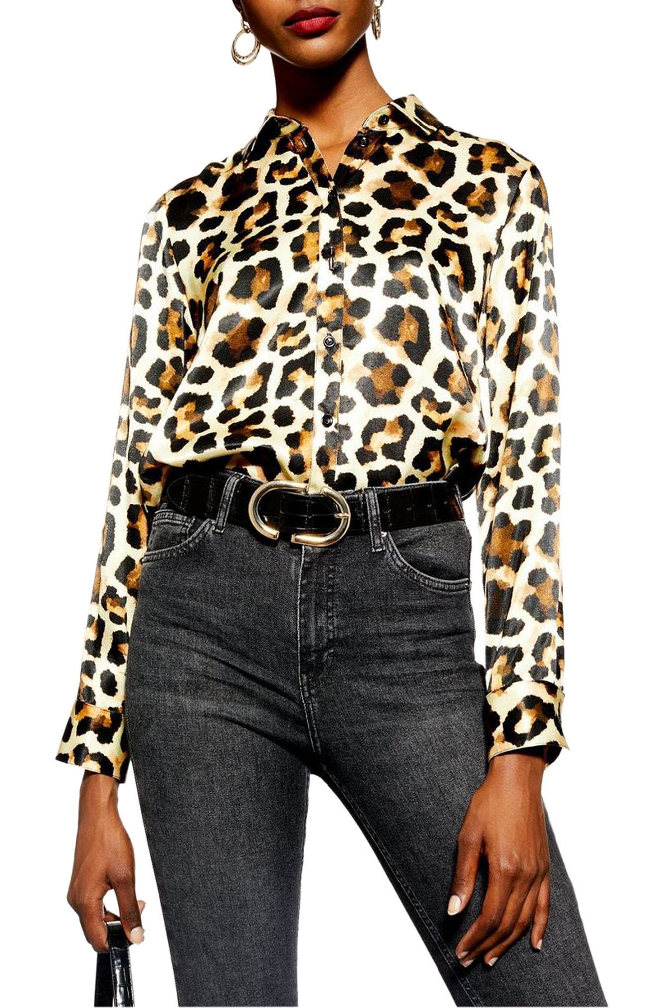 Leopard Print Shirt,                             Main thumbnail 1, color,                             BROWN MULTI