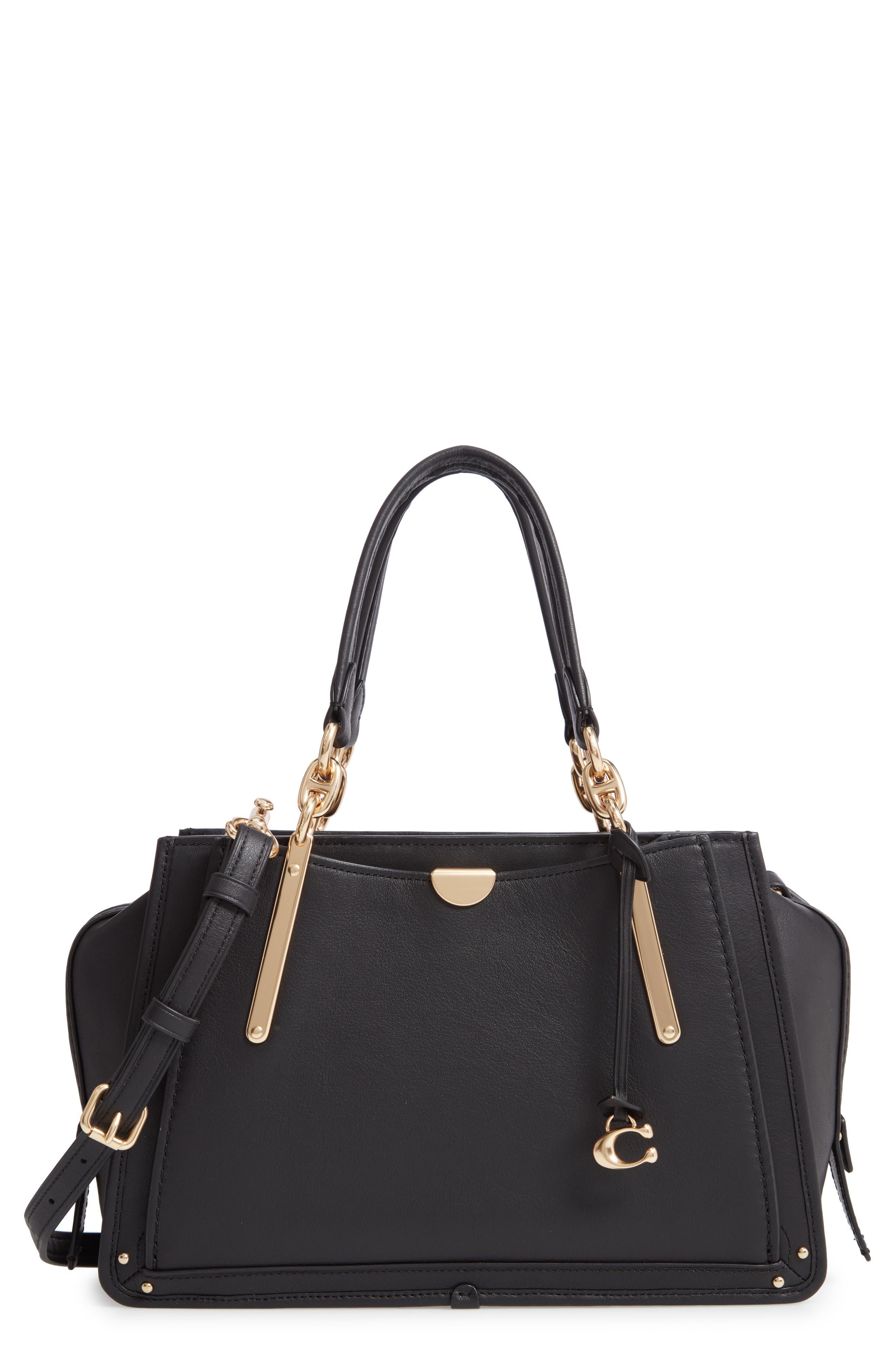 COACH Dreamer Leather Bag, Main, color, BLACK