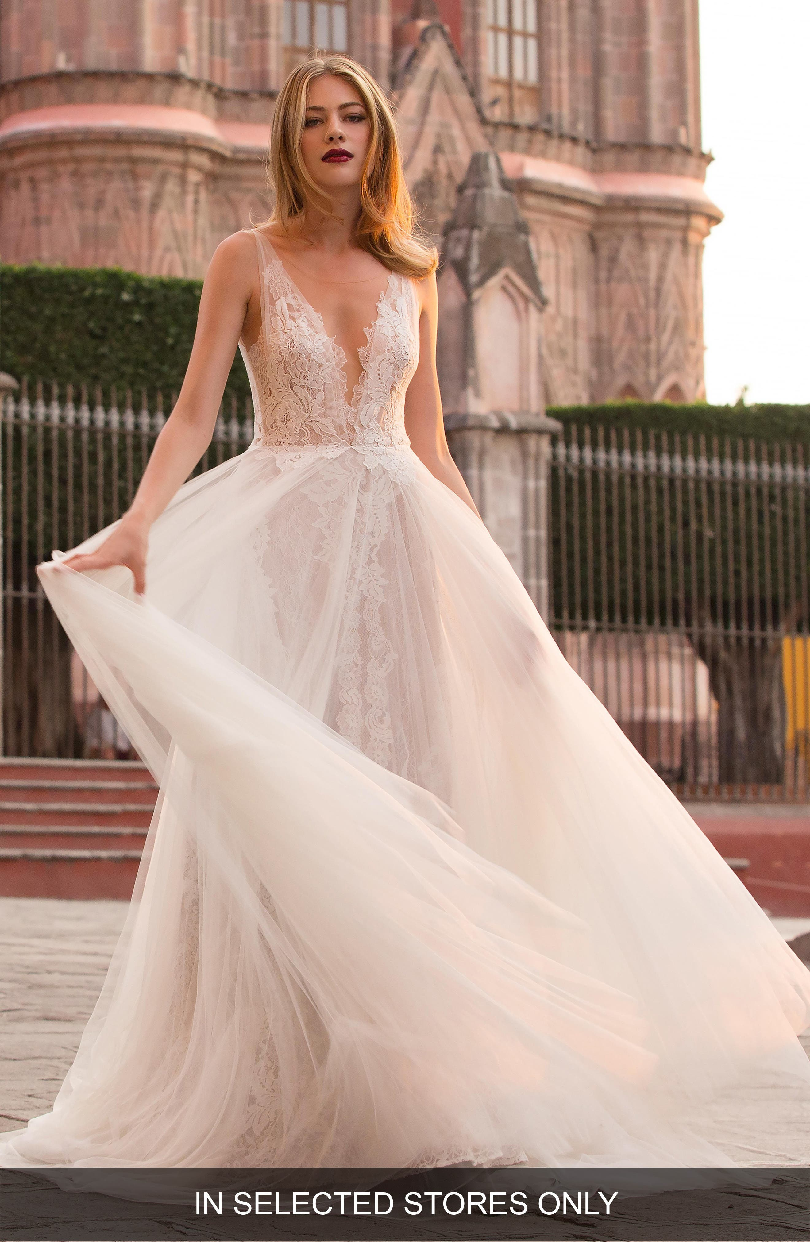 Ludmila Silk Lace & Tulle A-Line Gown,                         Main,                         color, IVORY / SUNKISS
