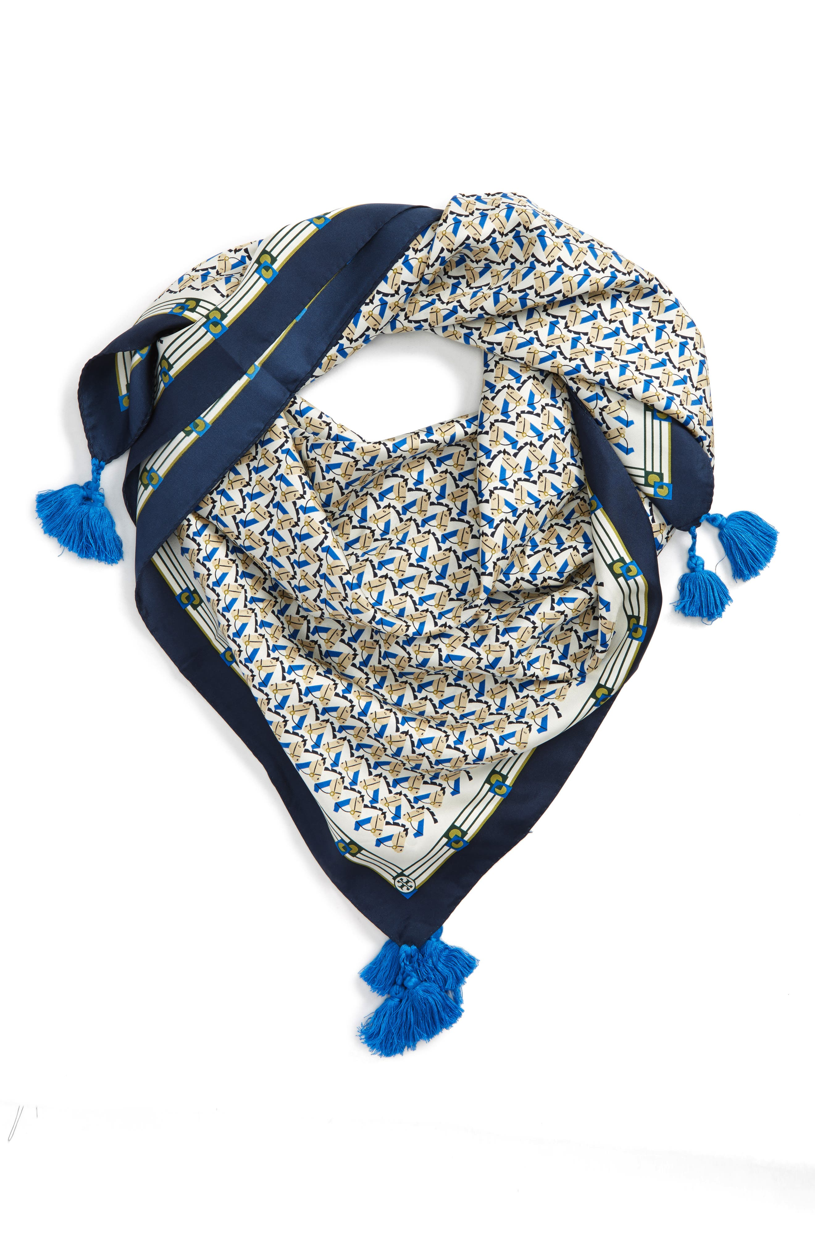 Stallion Silk Square Scarf with Tassels,                             Main thumbnail 2, color,