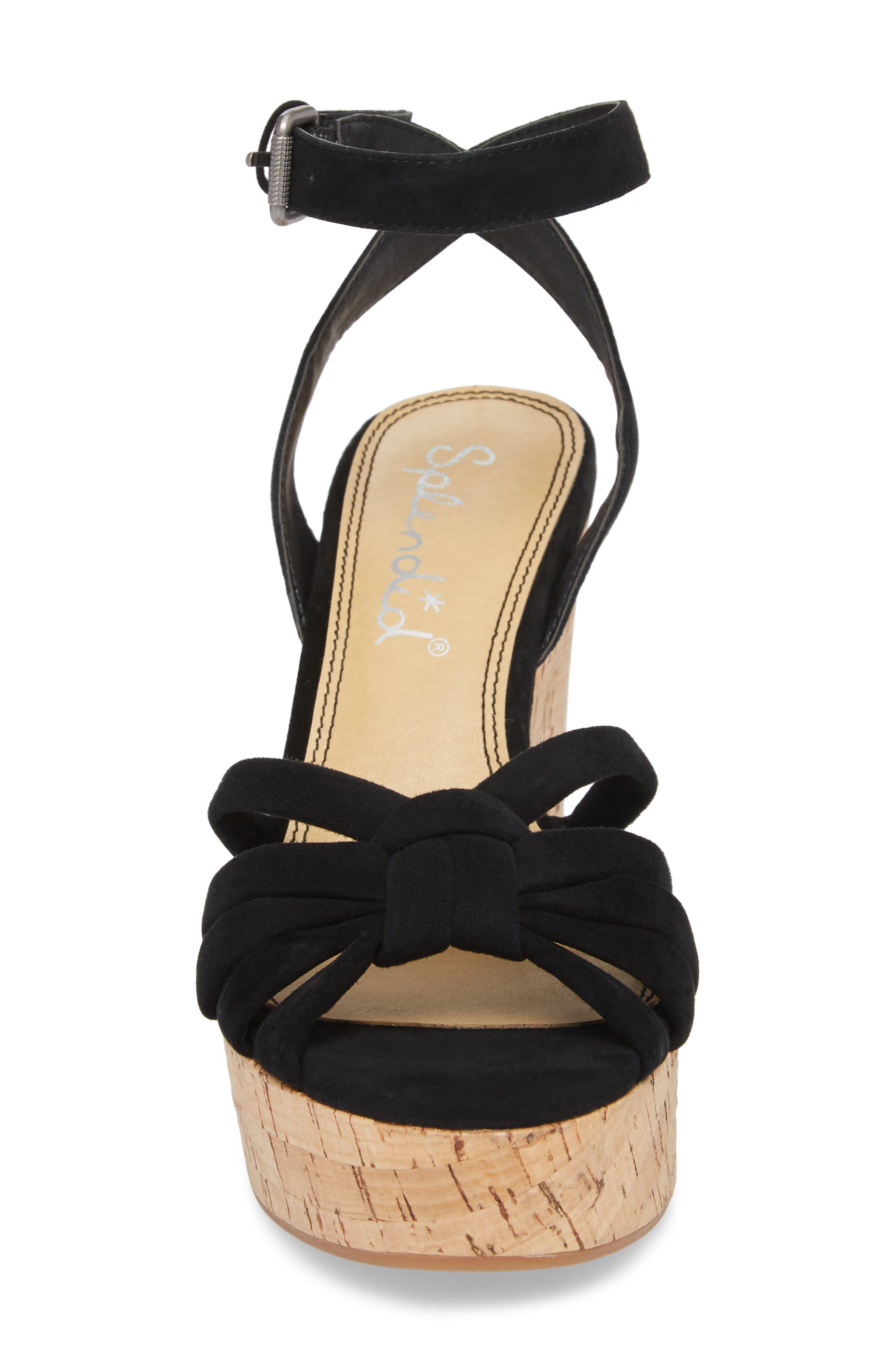 Fallon Wedge Sandal,                             Alternate thumbnail 4, color,                             BLACK SUEDE