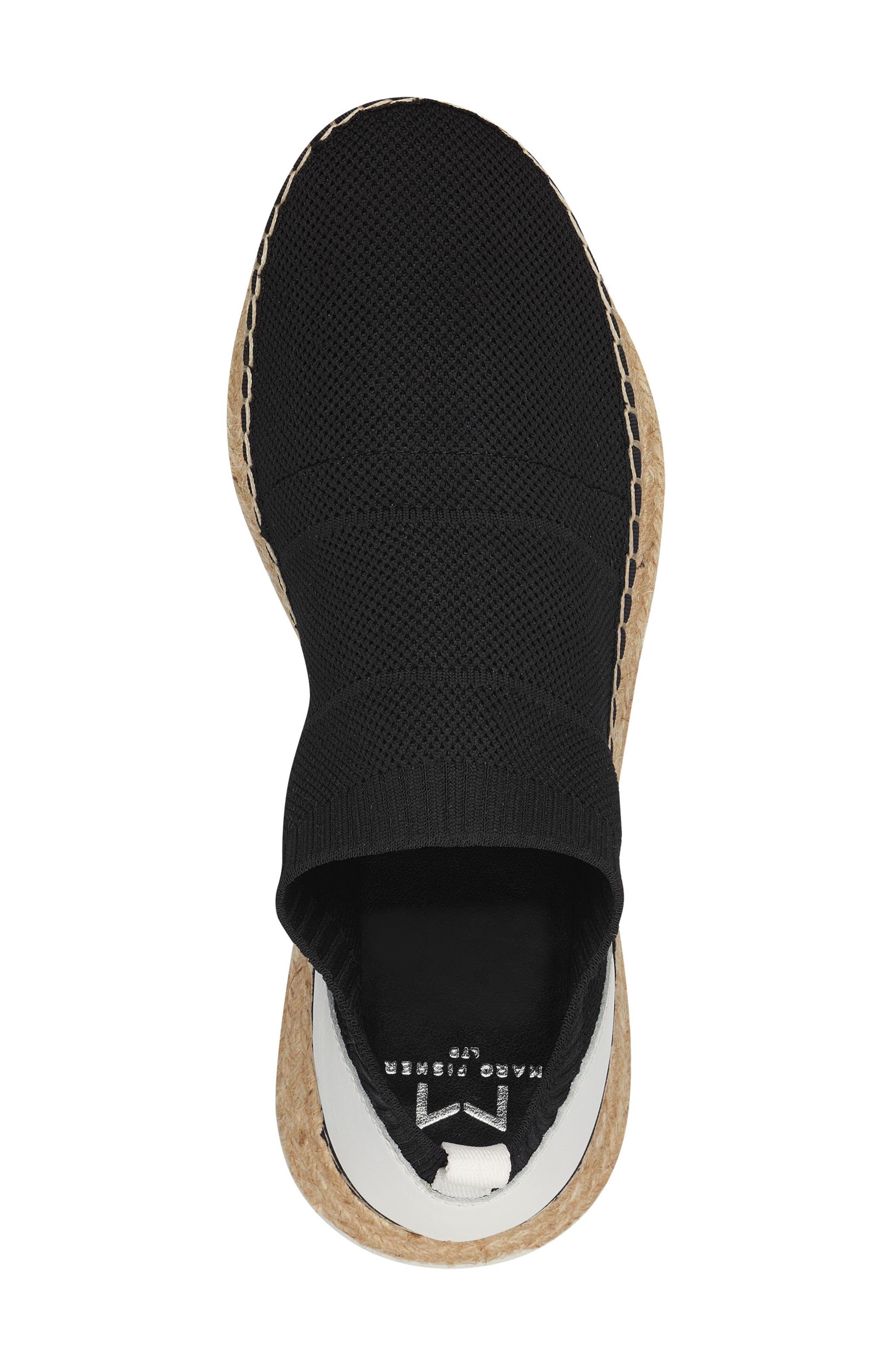 MARC FISHER LTD,                             Jilly Espadrille Sneaker,                             Alternate thumbnail 5, color,                             BLACK FABRIC