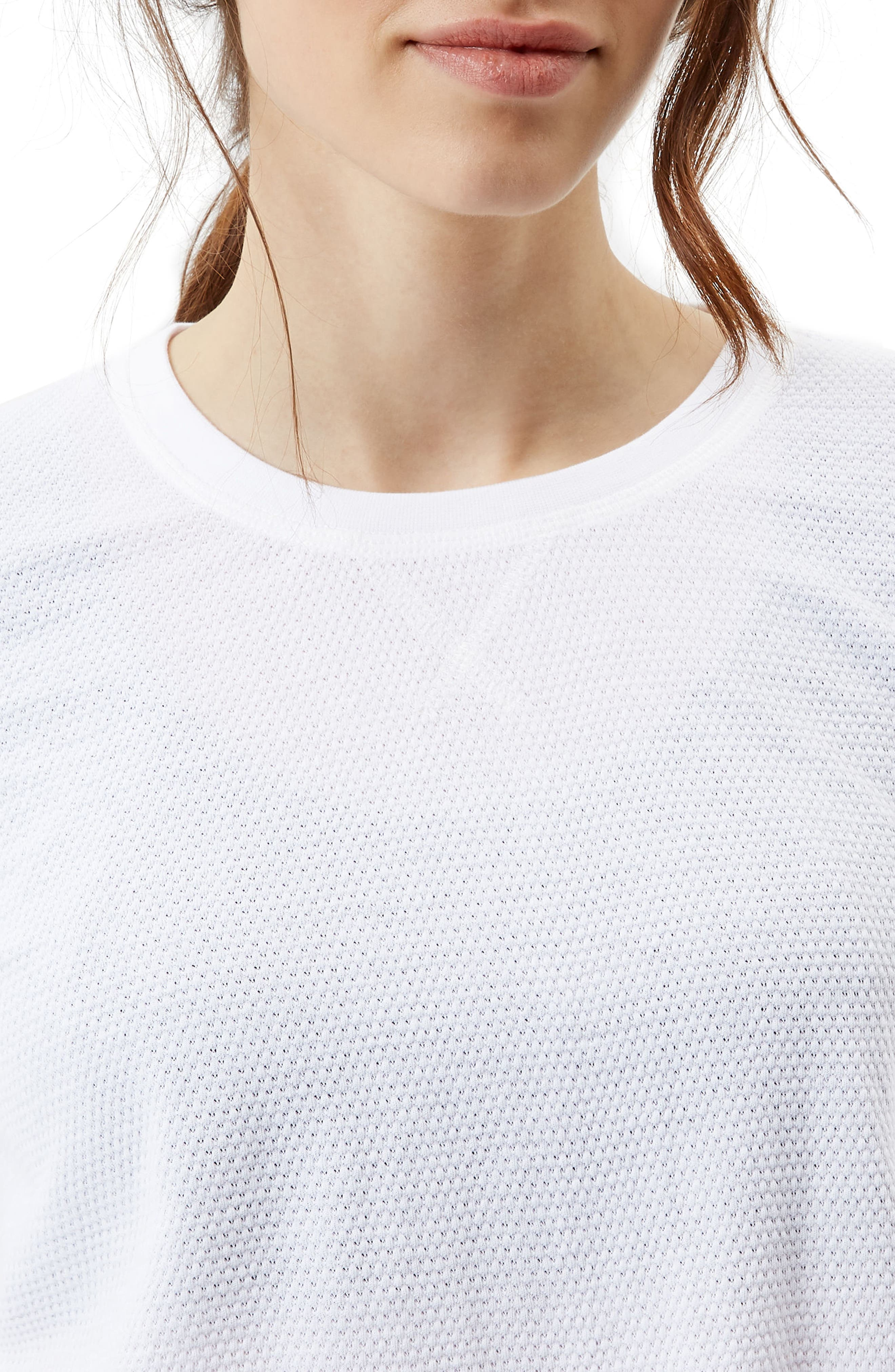 Waffle Knit Crop Tee,                             Alternate thumbnail 4, color,                             WHITE