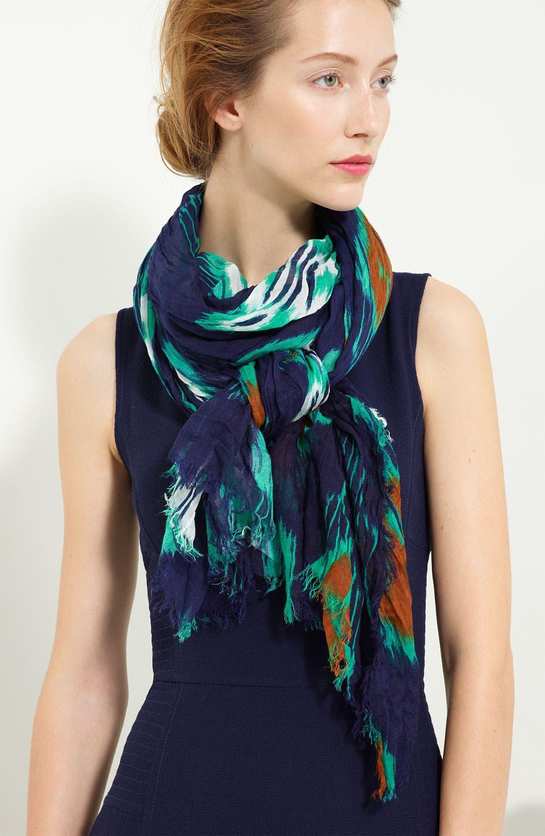 'Print Ikat' Cashmere Silk Scarf,                             Main thumbnail 1, color,