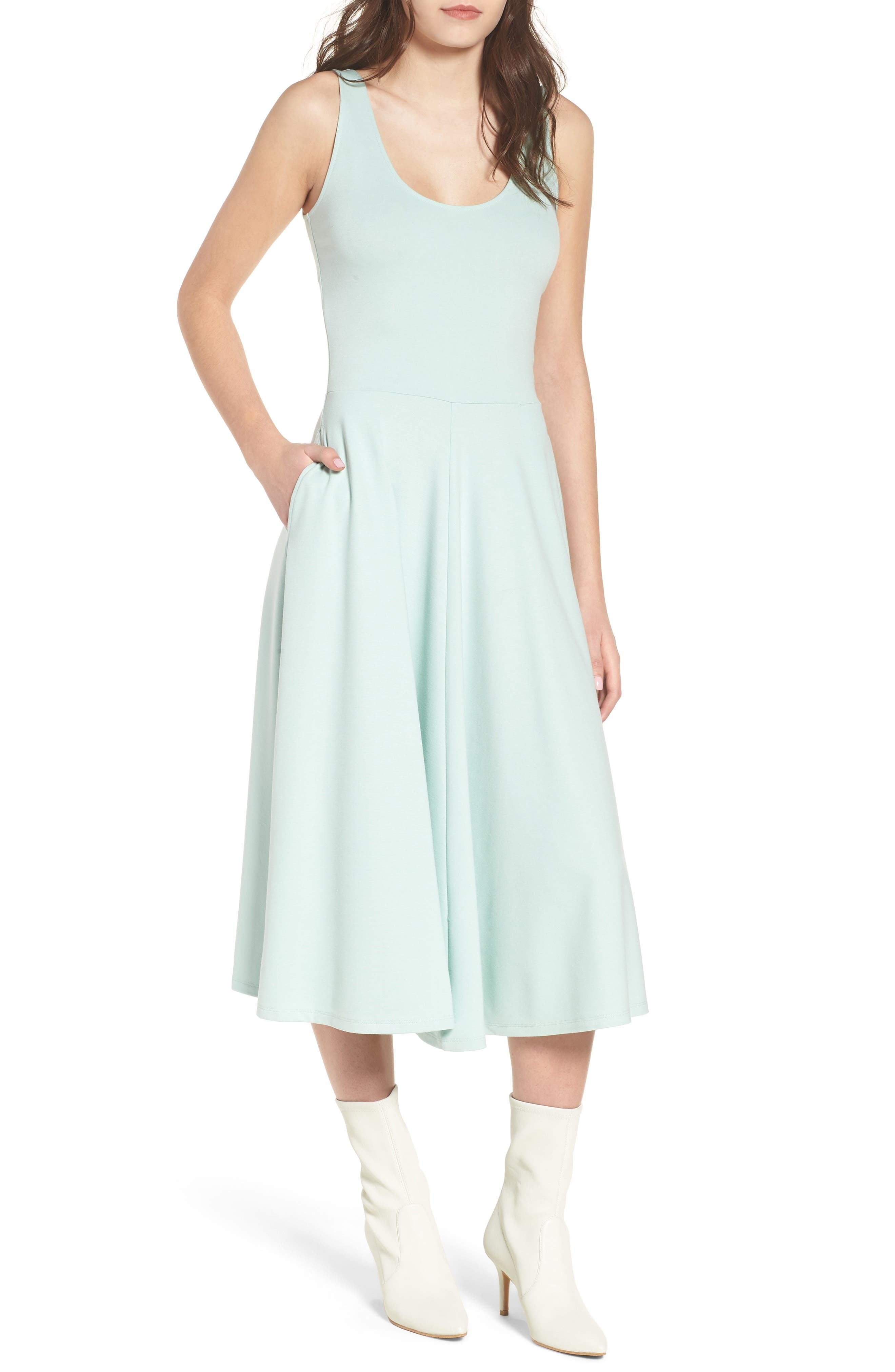 Stretch Knit Midi Dress,                             Alternate thumbnail 46, color,