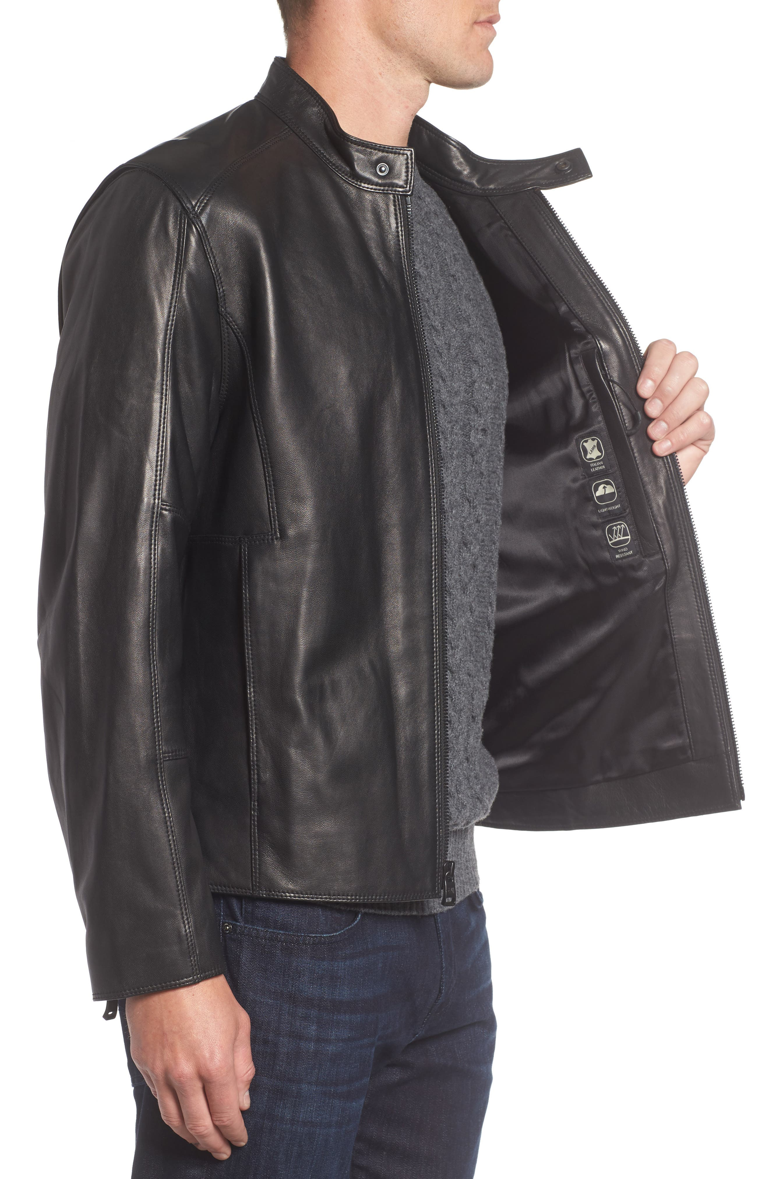 Gibson Slim Leather Moto Jacket,                             Alternate thumbnail 3, color,                             001