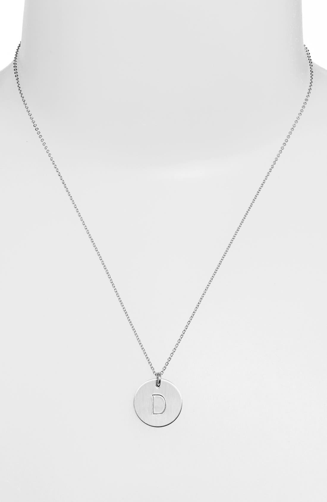 Sterling Silver Initial Disc Necklace,                             Main thumbnail 1, color,                             STERLING SILVER D