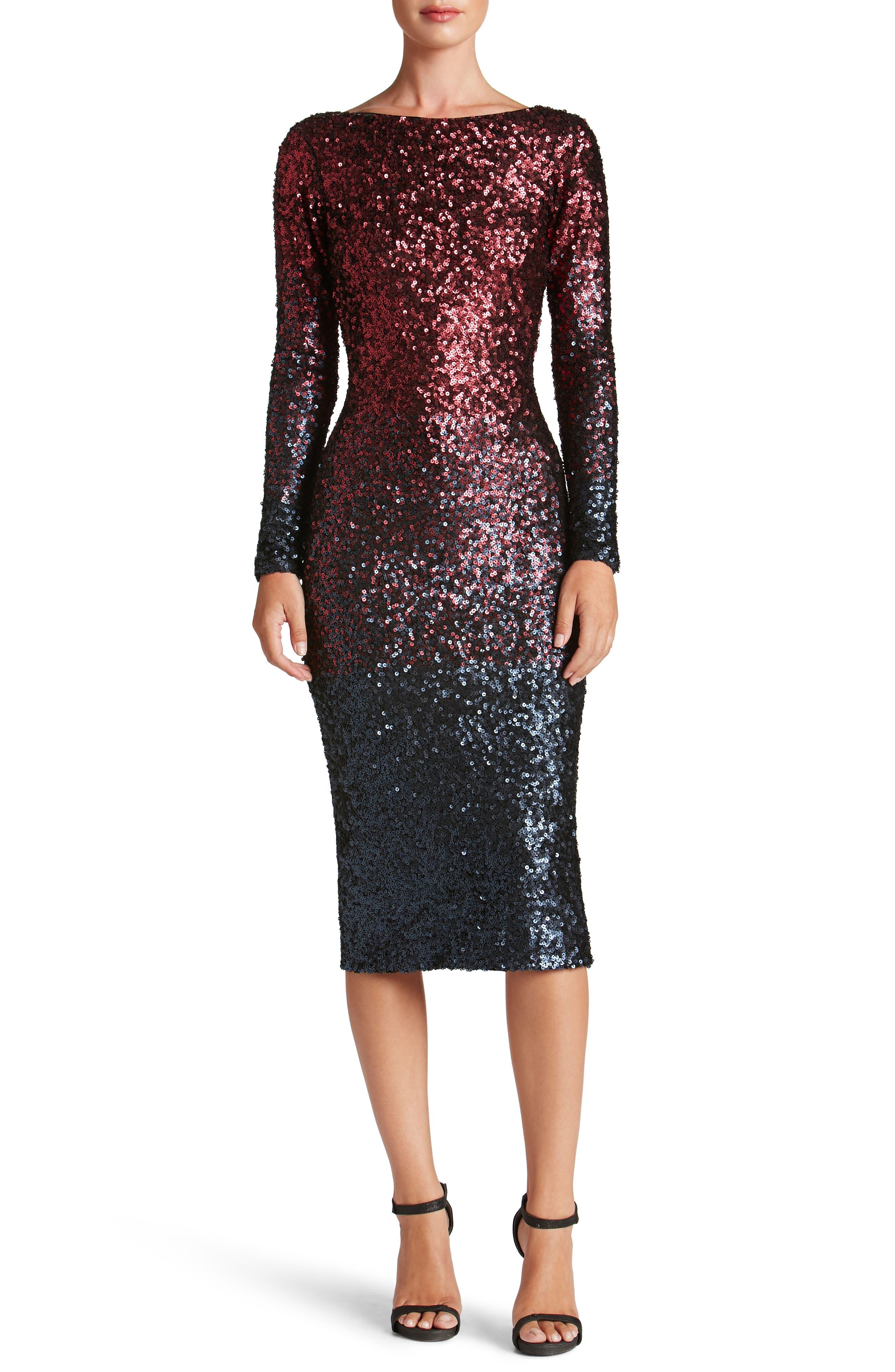 Emery Ombré Sequin Body-Con Dress,                             Main thumbnail 4, color,