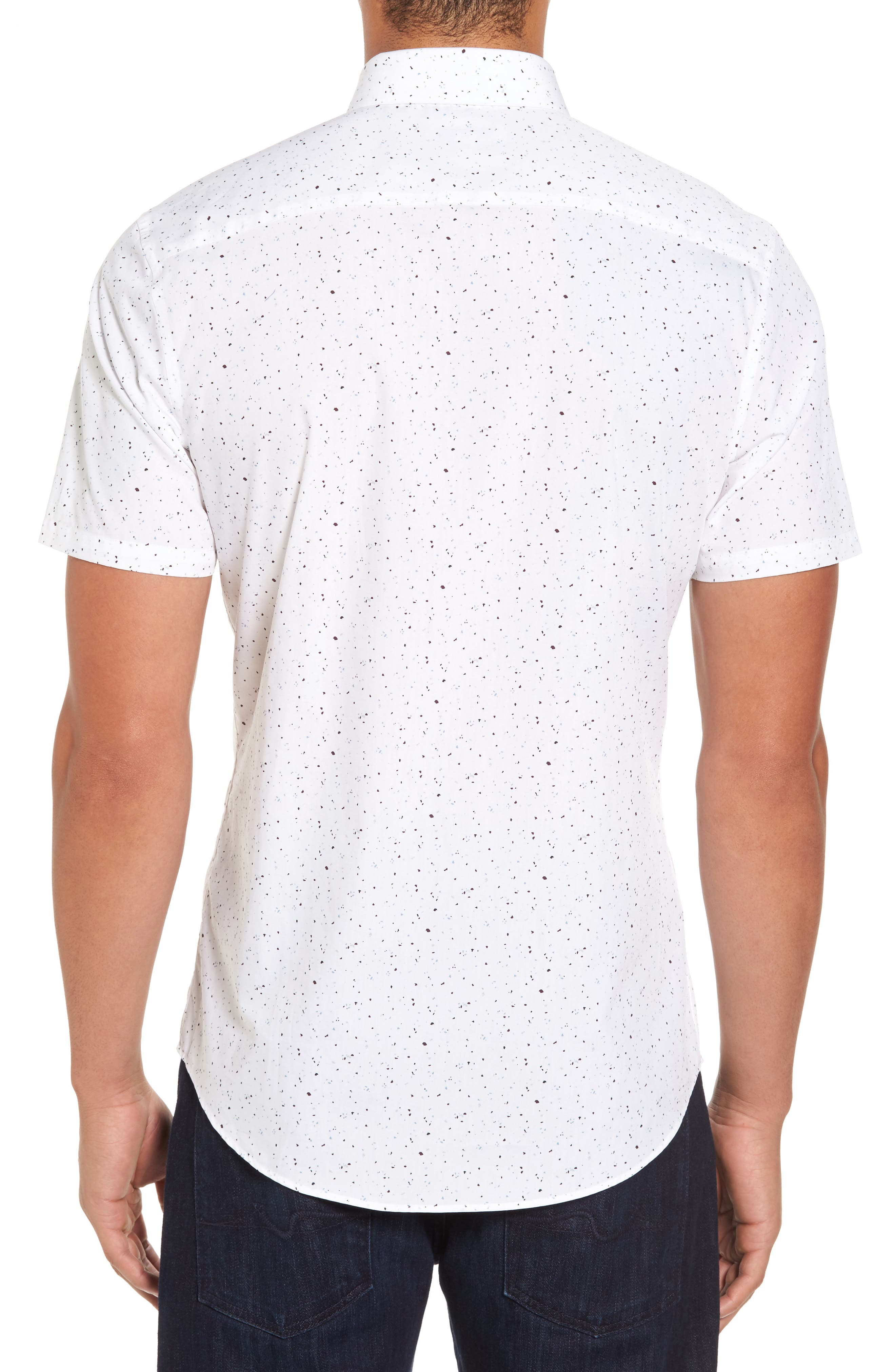 Speckle Print Sport Shirt,                             Alternate thumbnail 2, color,                             100