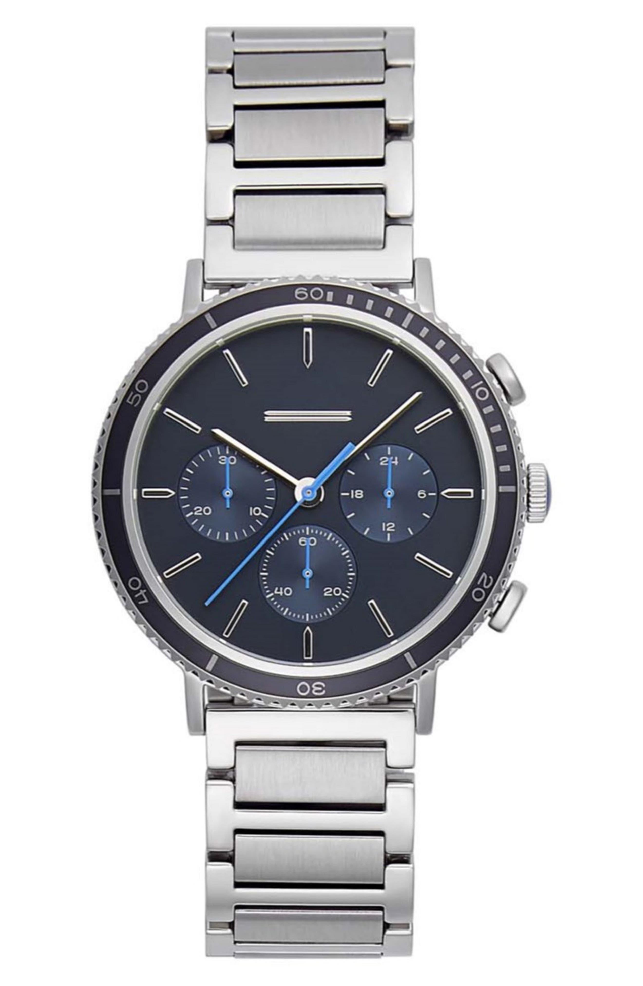 URI MINKOFF Griffith Chronograph Bracelet Watch, 43Mm in Silver/ Blue