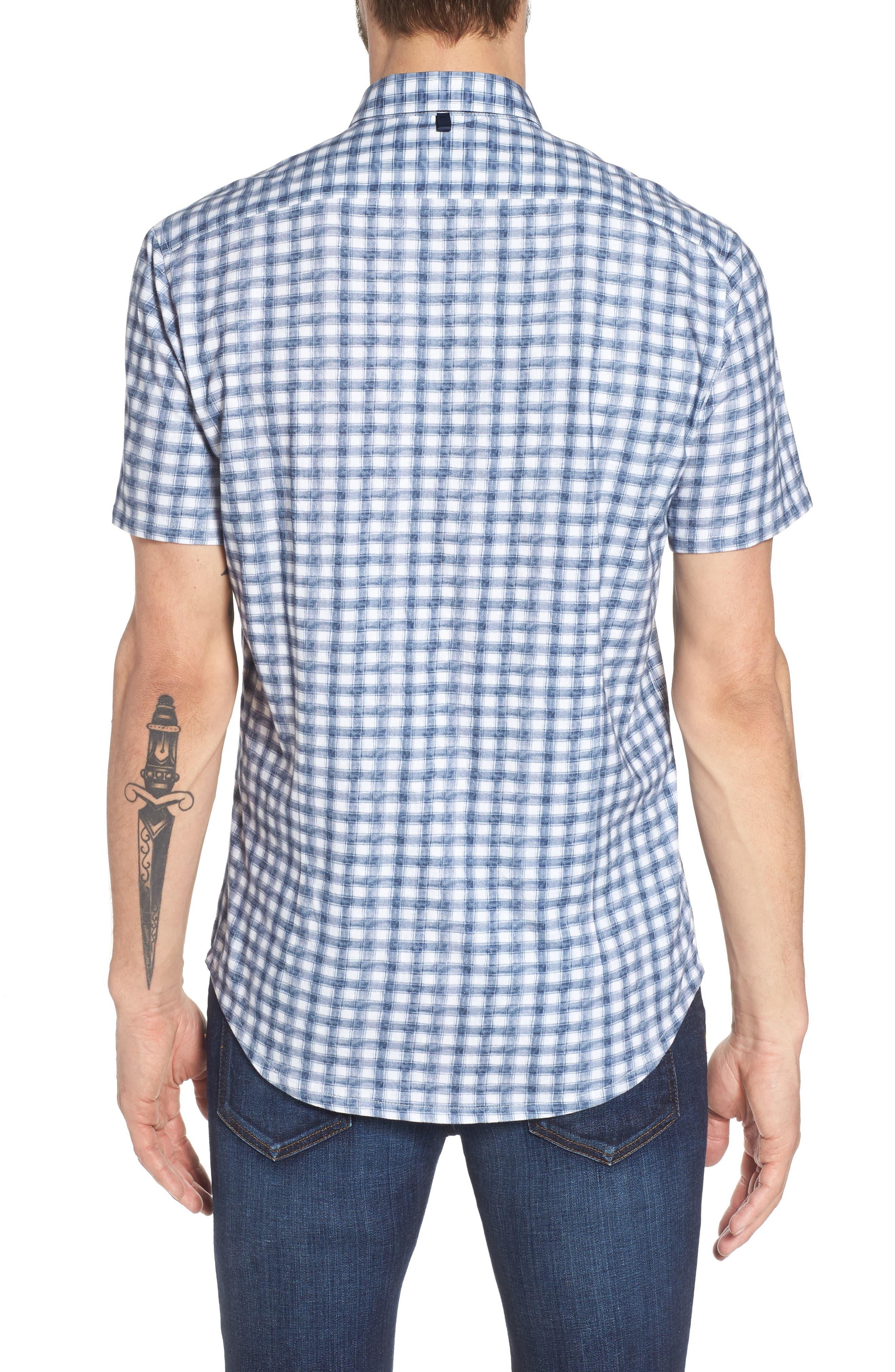 Watercolor Slim Fit Stretch Short Sleeve Sport Shirt,                             Alternate thumbnail 2, color,                             020