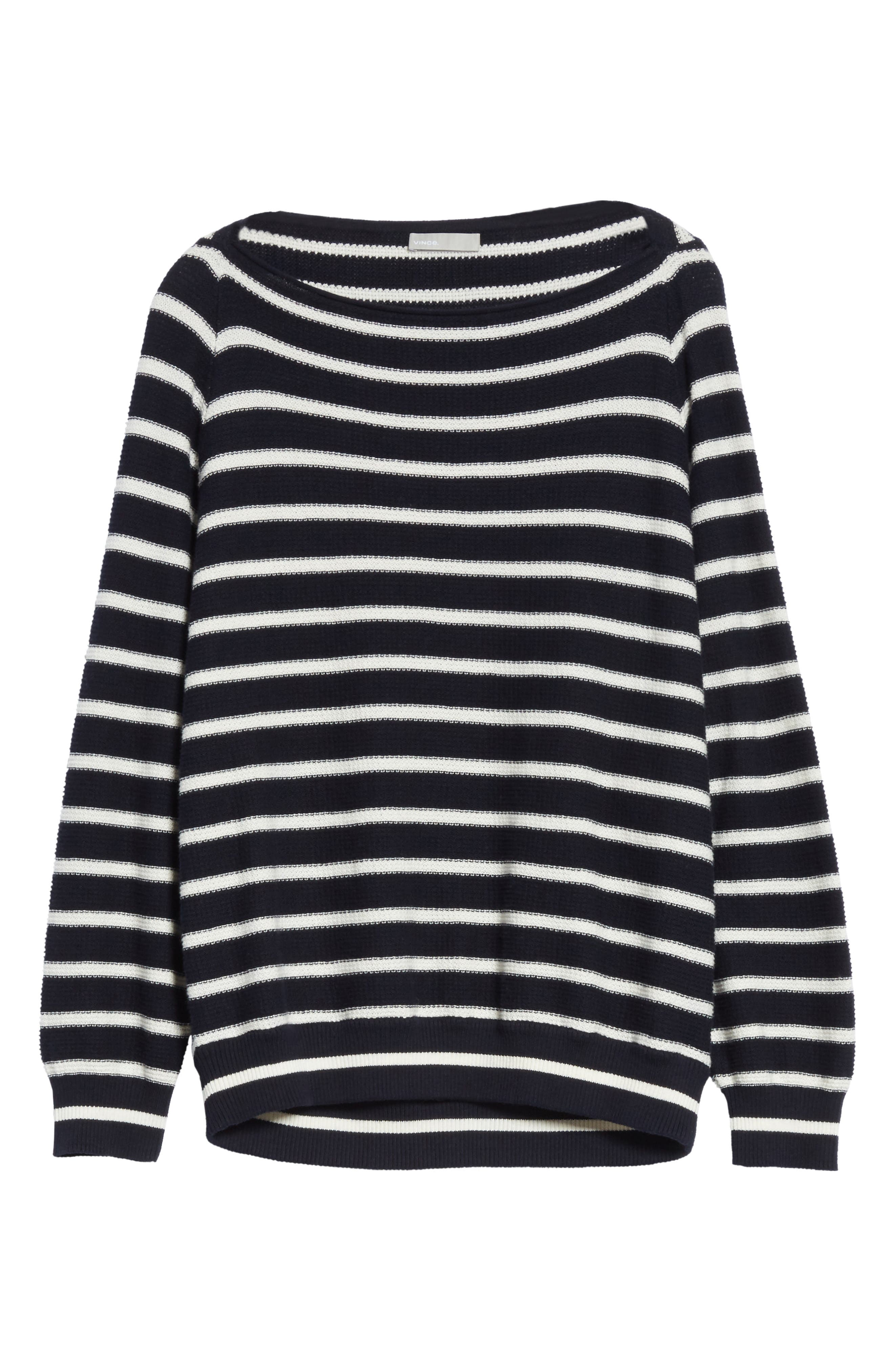 Stripe Waffle Knit Top,                             Alternate thumbnail 6, color,                             497