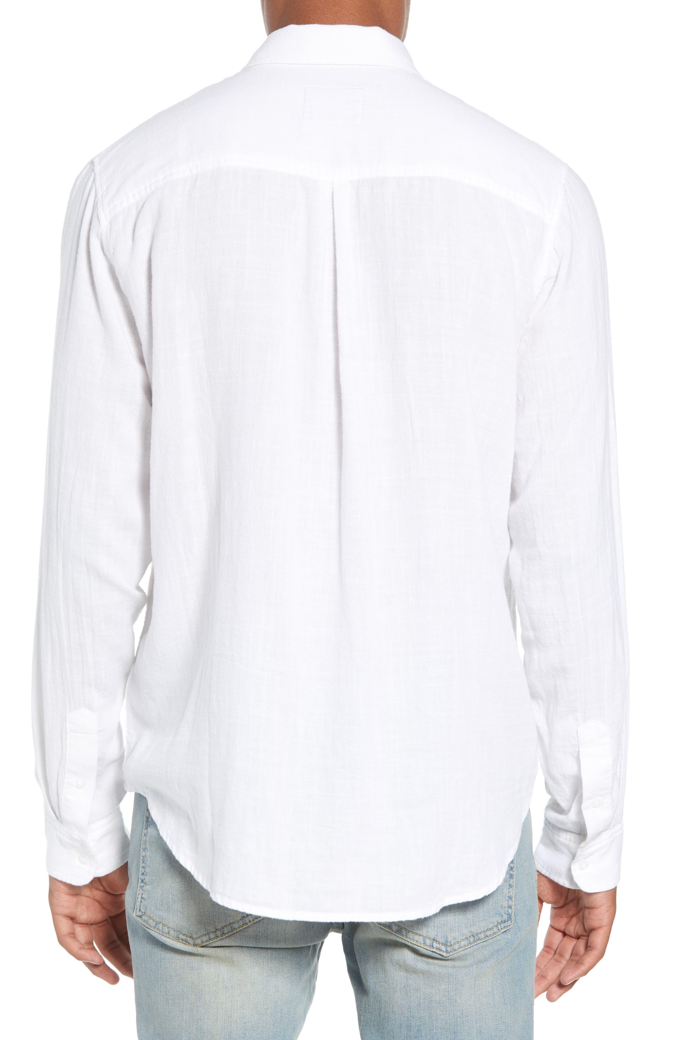 Wyatt Regular Fit Woven Shirt,                             Alternate thumbnail 3, color,                             WHITE
