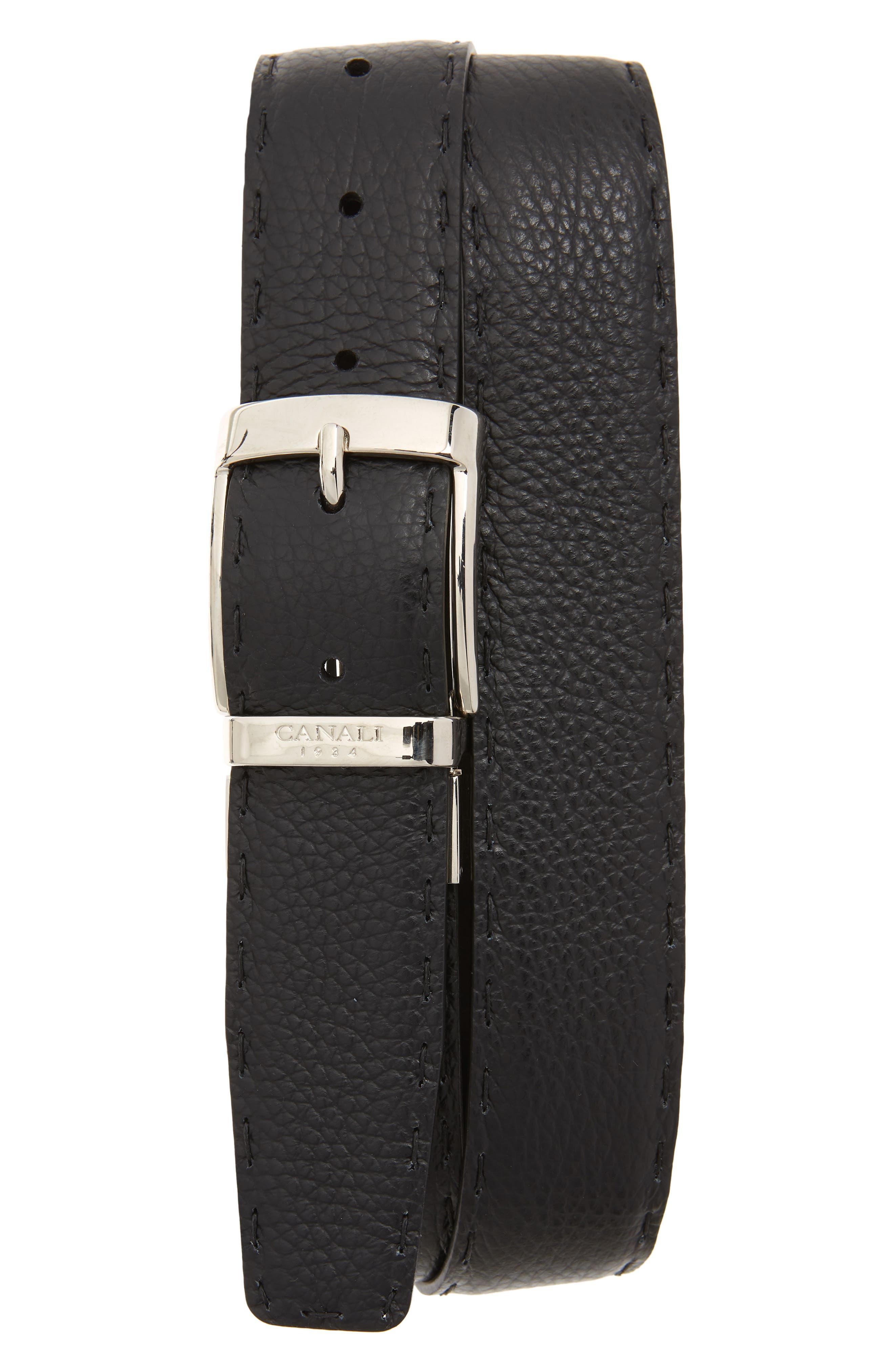 Reversible Hand Sewn Leather Belt,                             Alternate thumbnail 2, color,                             BLACK