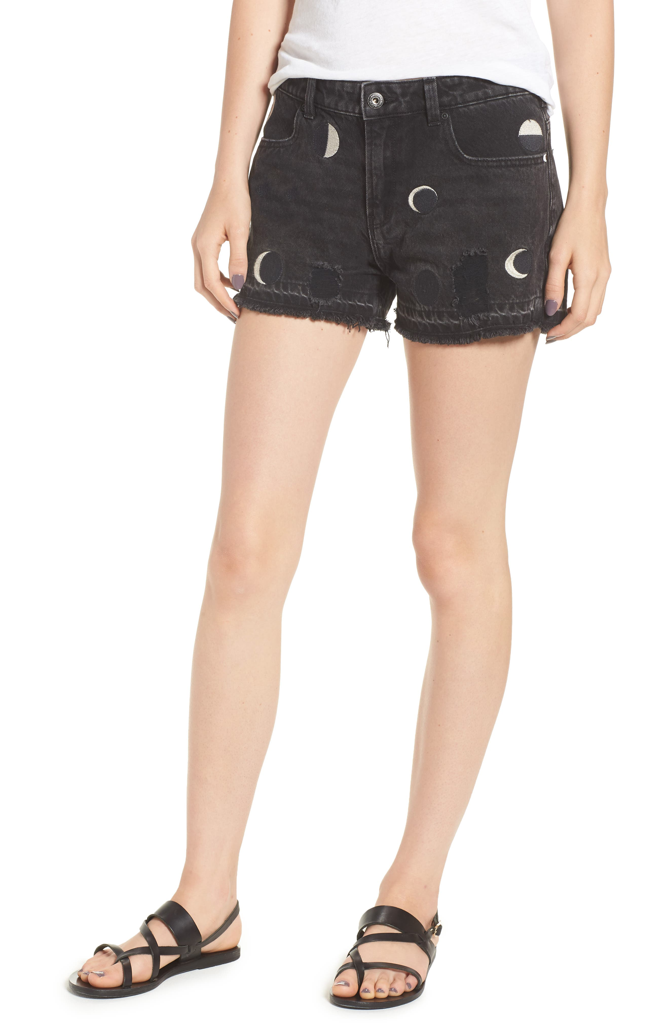 Seasonal Festival Embroidered Denim Shorts,                             Main thumbnail 1, color,                             721