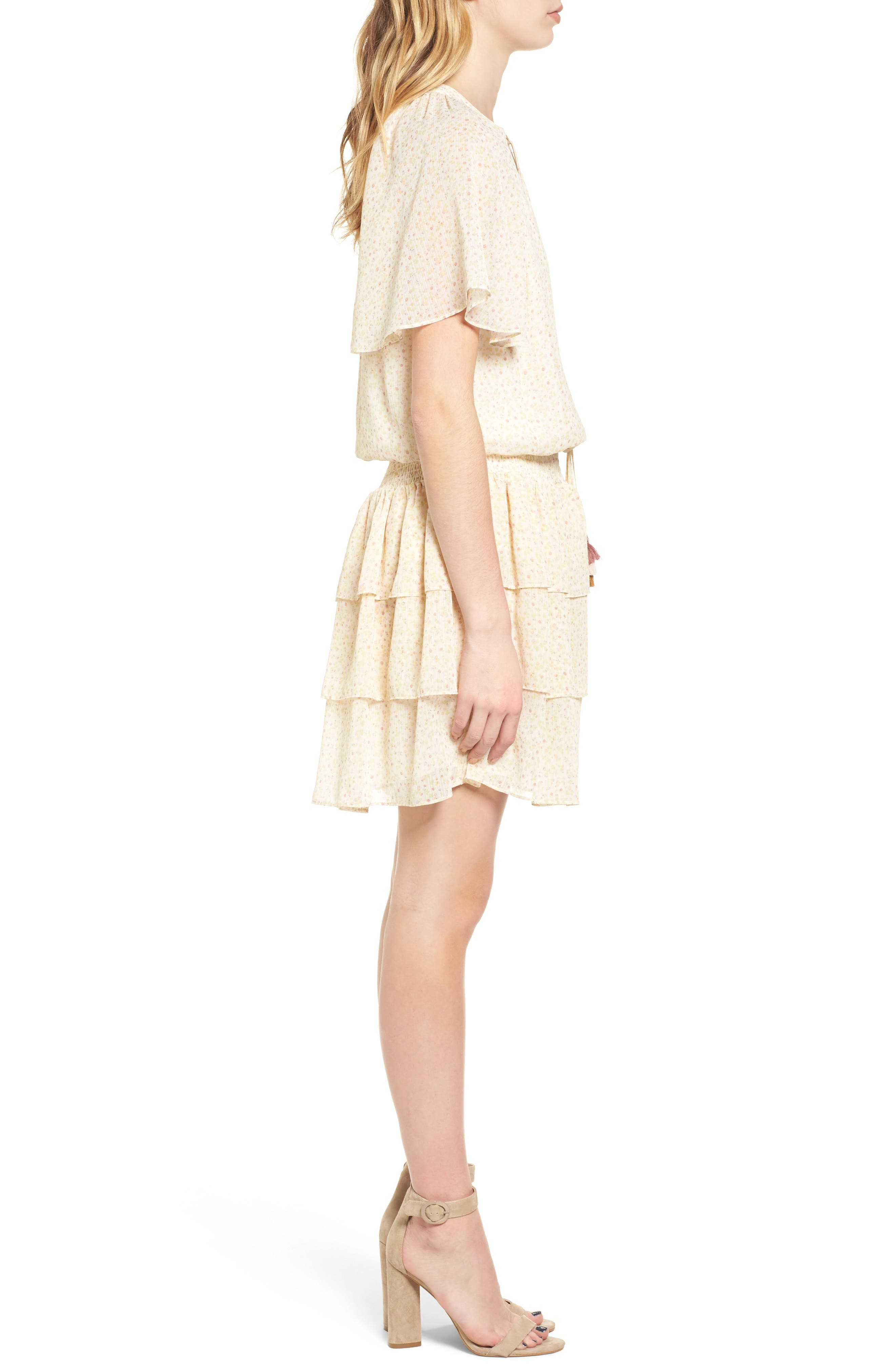 Pebble Blouson Minidress,                             Alternate thumbnail 3, color,