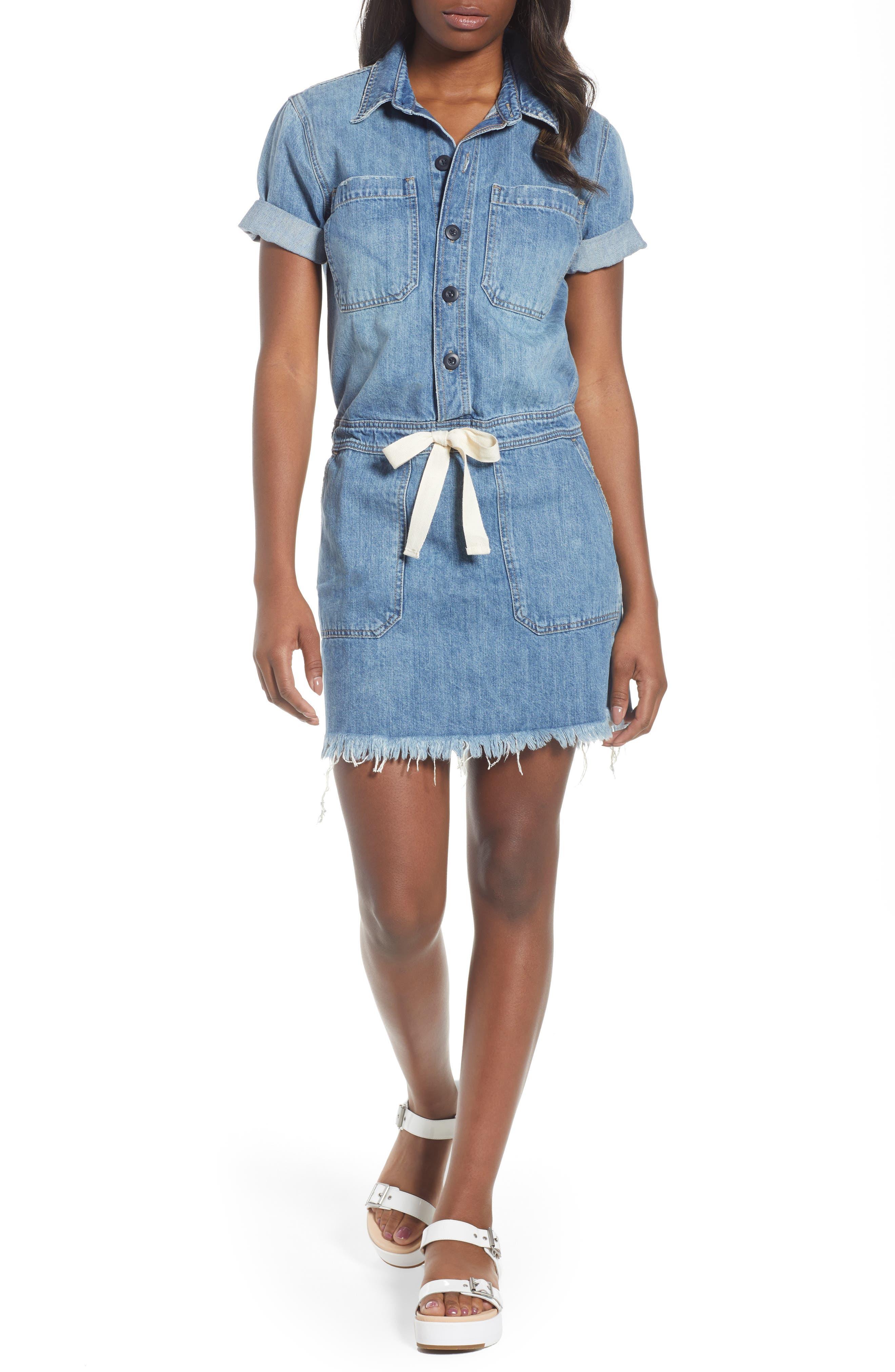 Drawstring Denim Dress,                         Main,                         color,