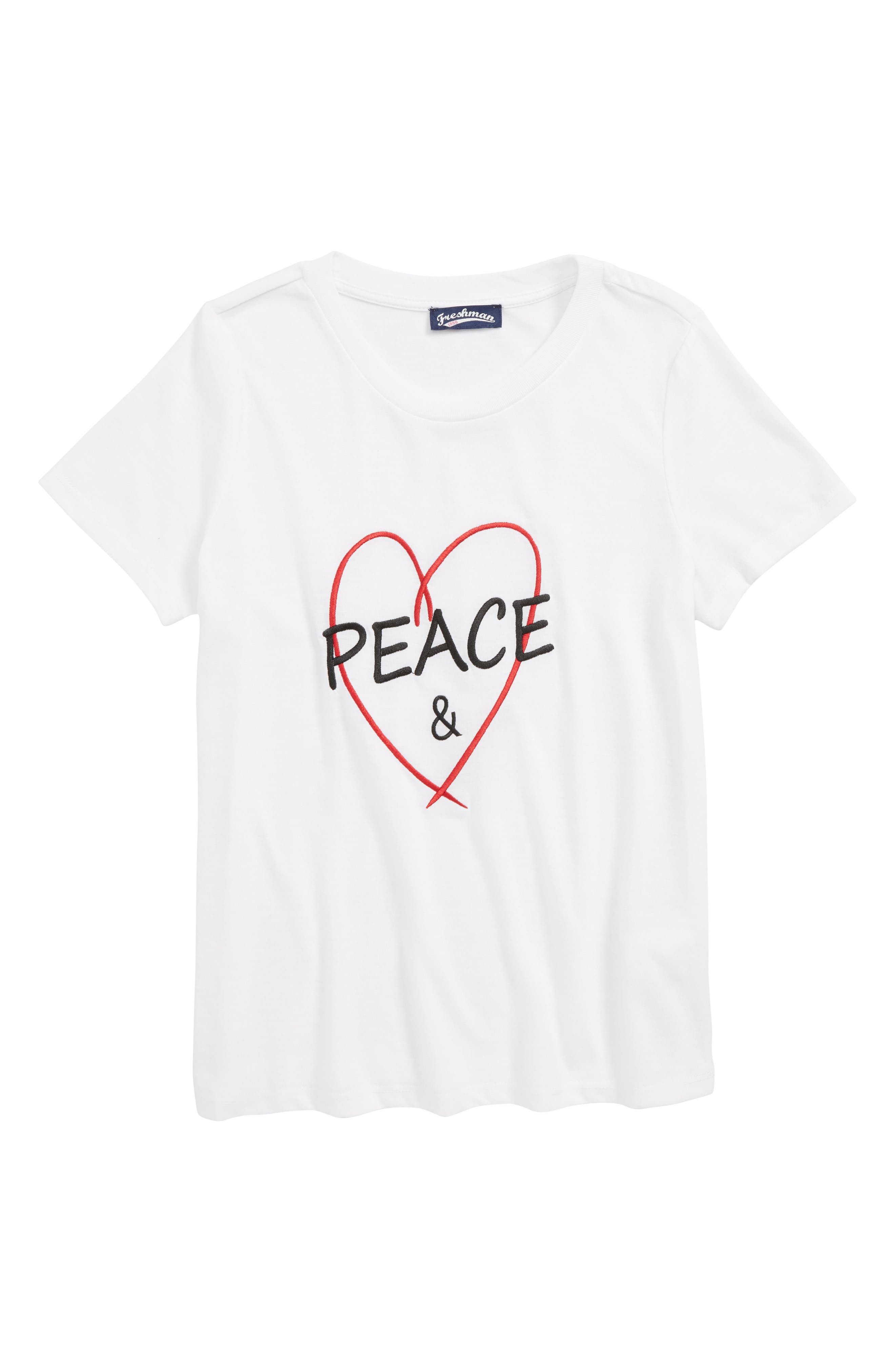 Peace & Love Embroidered Tee,                             Main thumbnail 1, color,                             BRIGHT WHITE