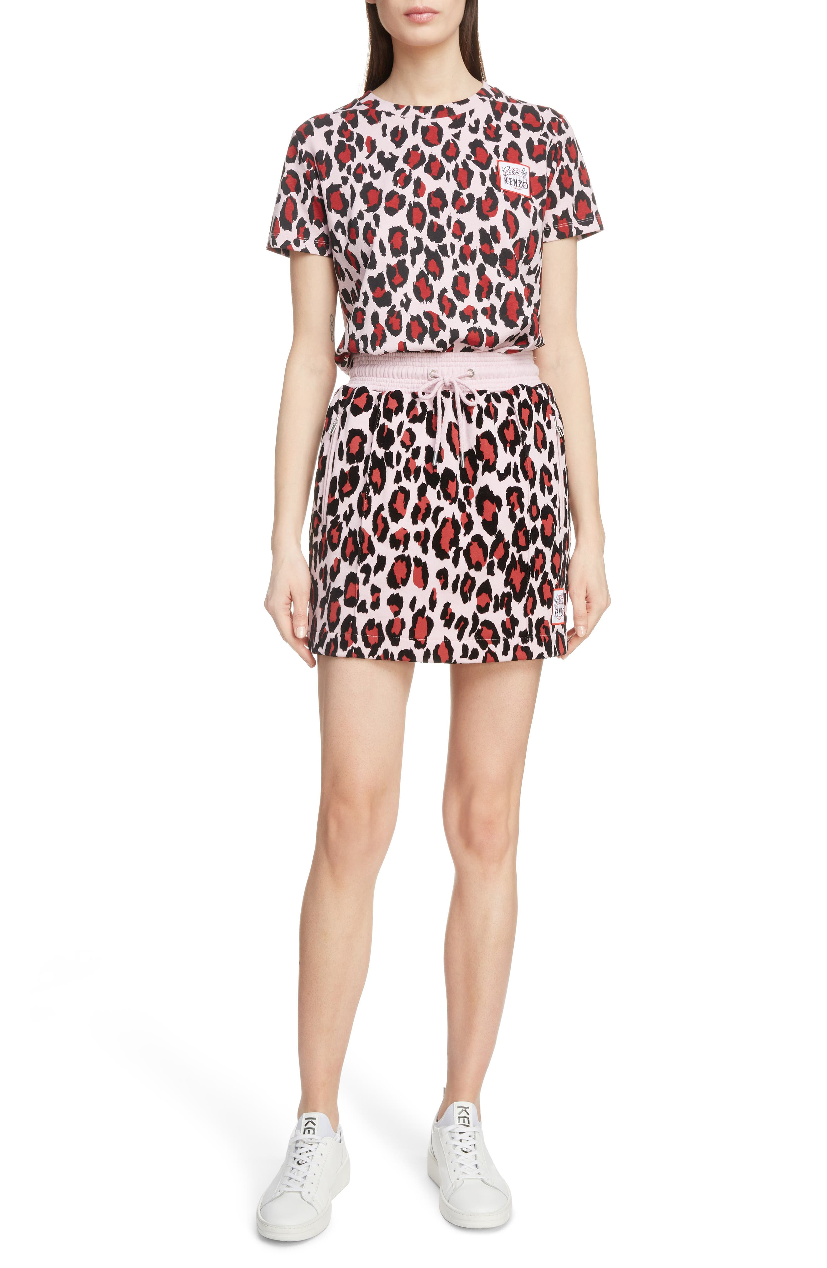 Leopard Print Jogging Miniskirt,                             Alternate thumbnail 6, color,                             MOLLETON PASTEL PINK