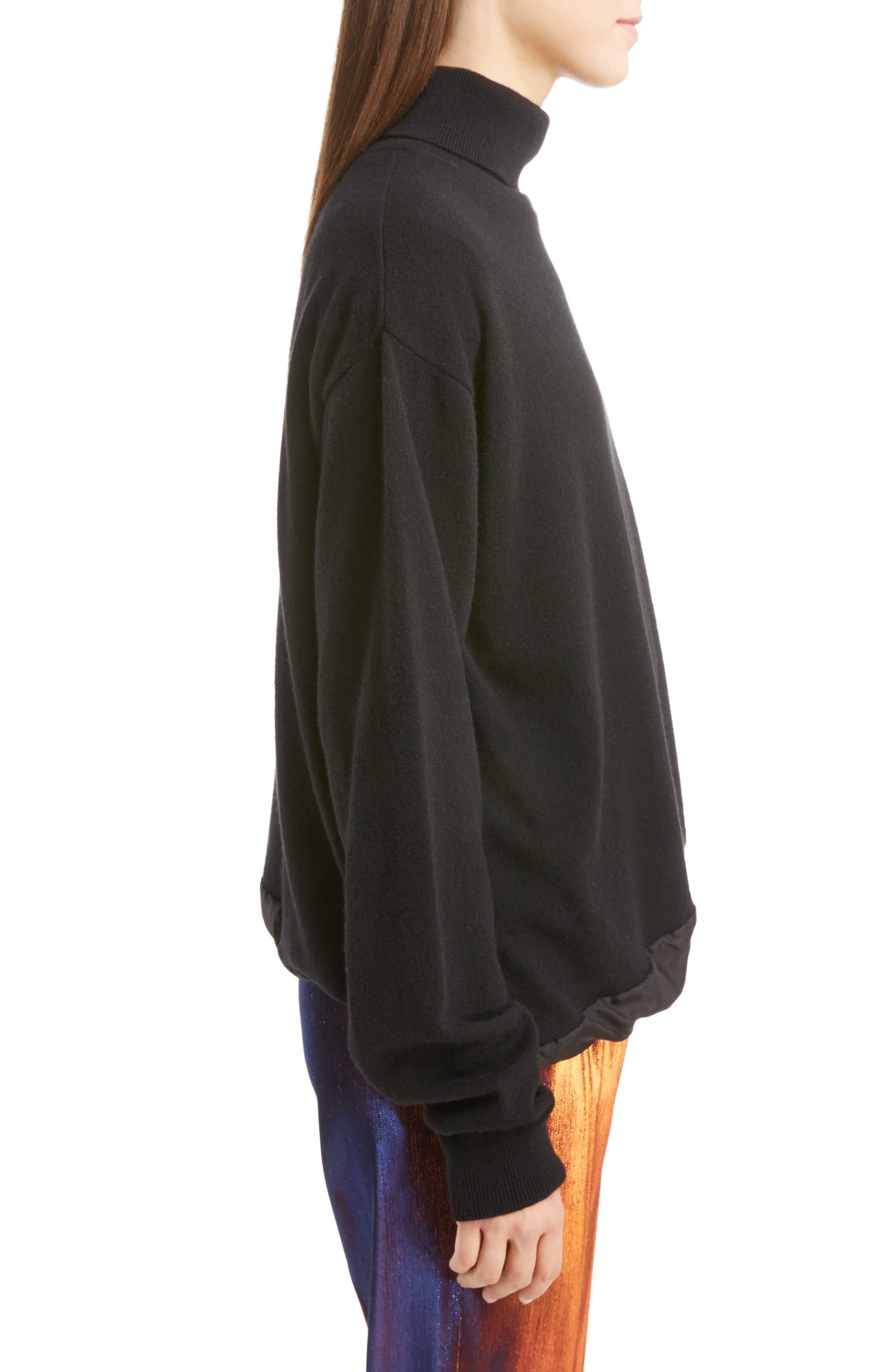 Silk Hem Cashmere Turtleneck Sweater,                             Alternate thumbnail 3, color,                             001