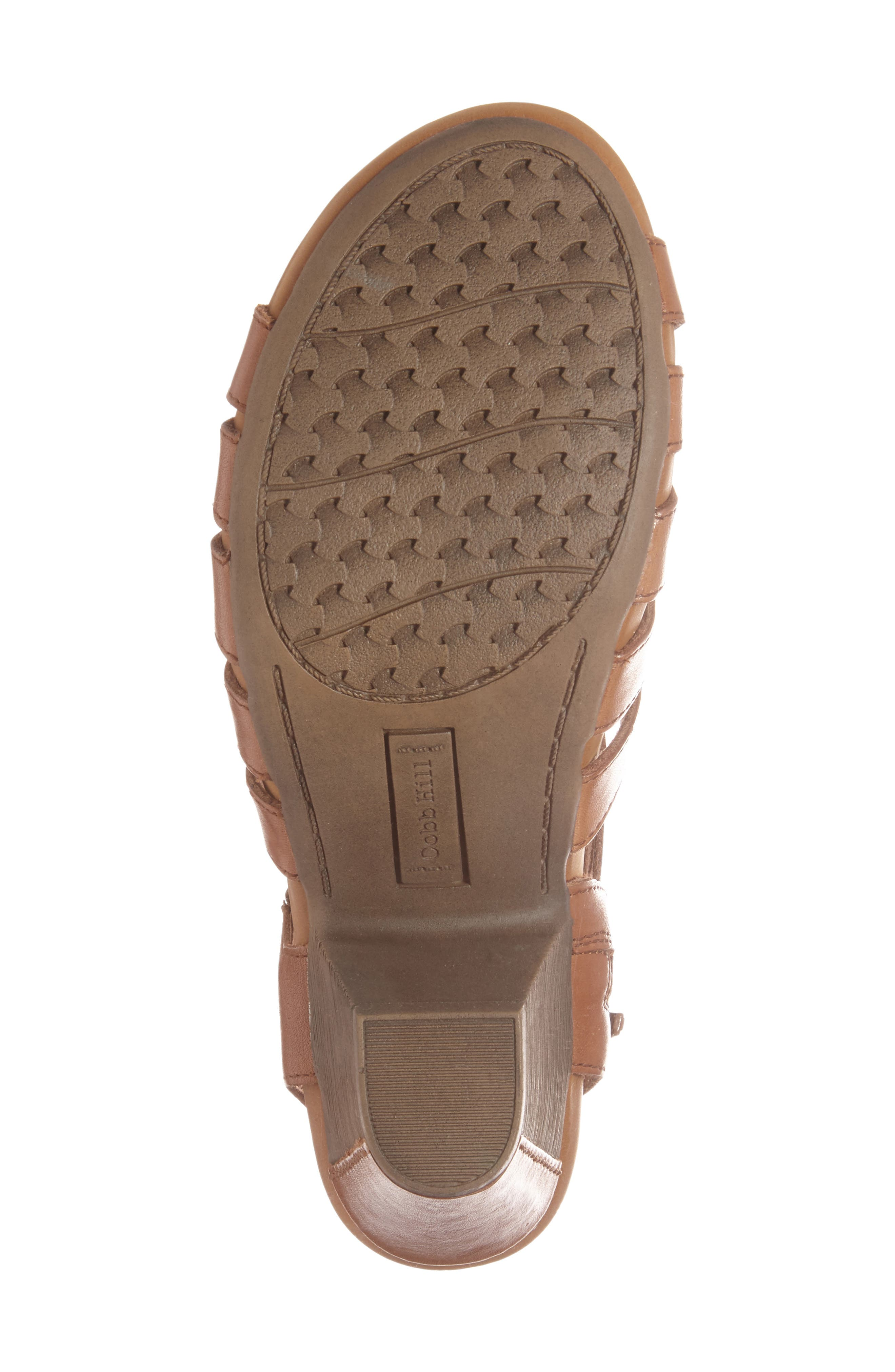 'Taylor' Caged Sandal,                             Alternate thumbnail 4, color,                             TAN LEATHER