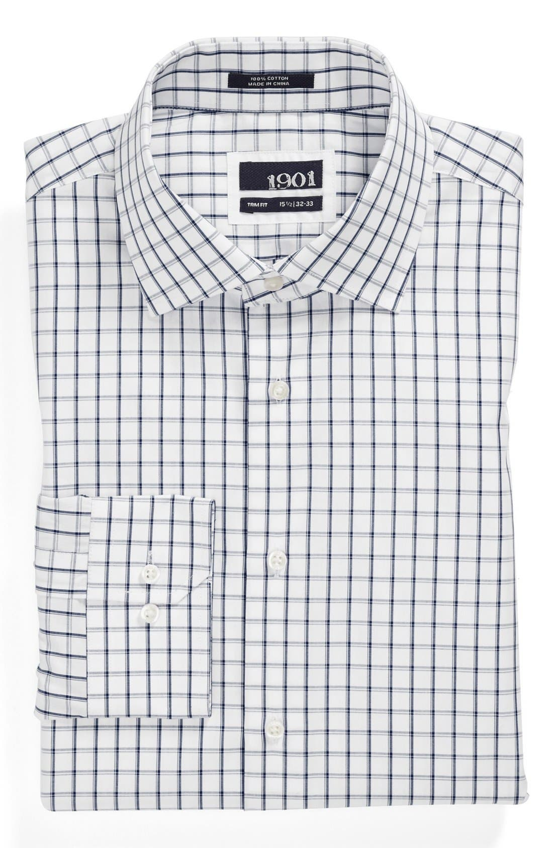 Trim Fit Check Dress Shirt,                             Main thumbnail 1, color,                             400