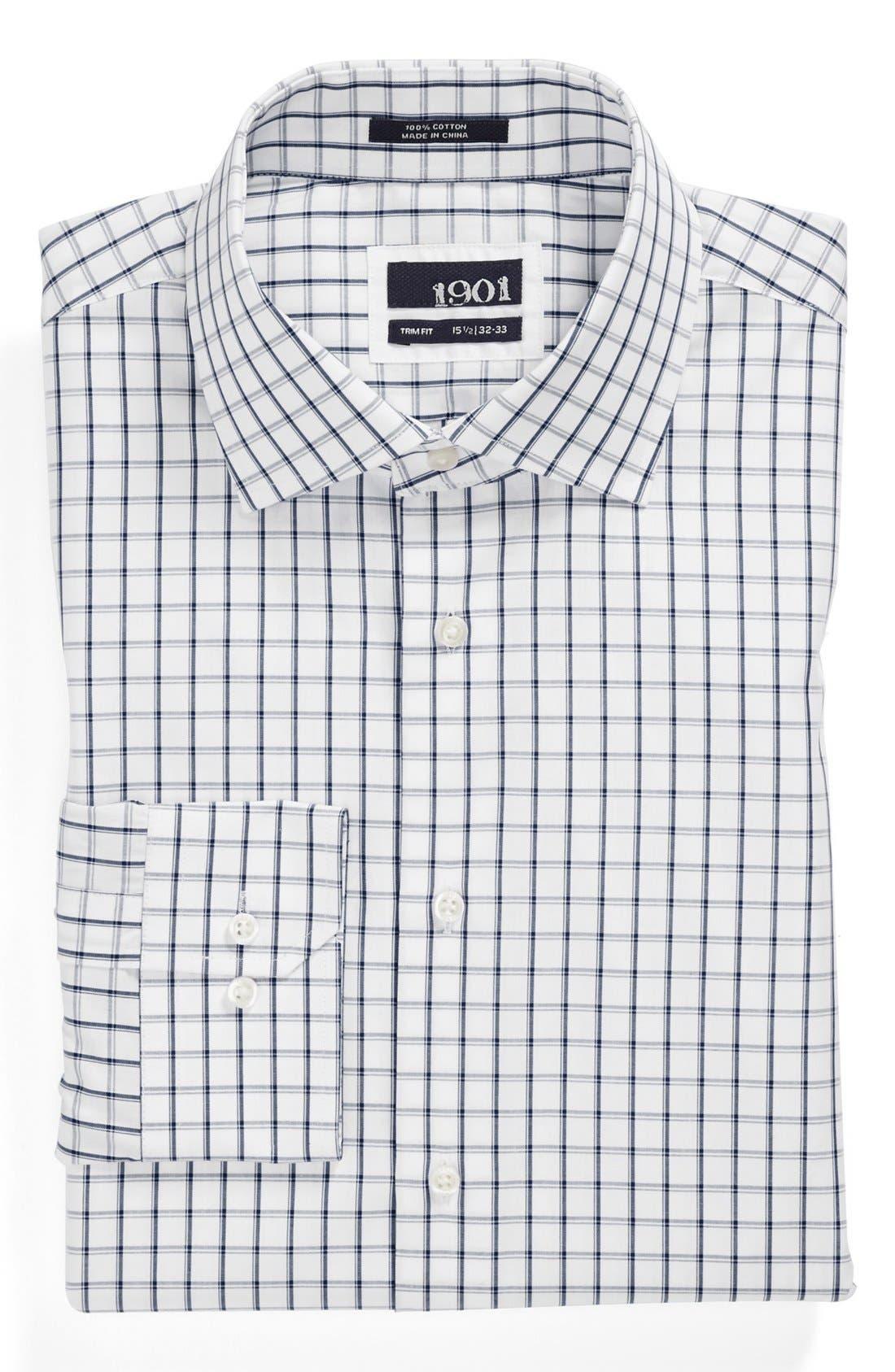 Trim Fit Check Dress Shirt,                         Main,                         color, 400