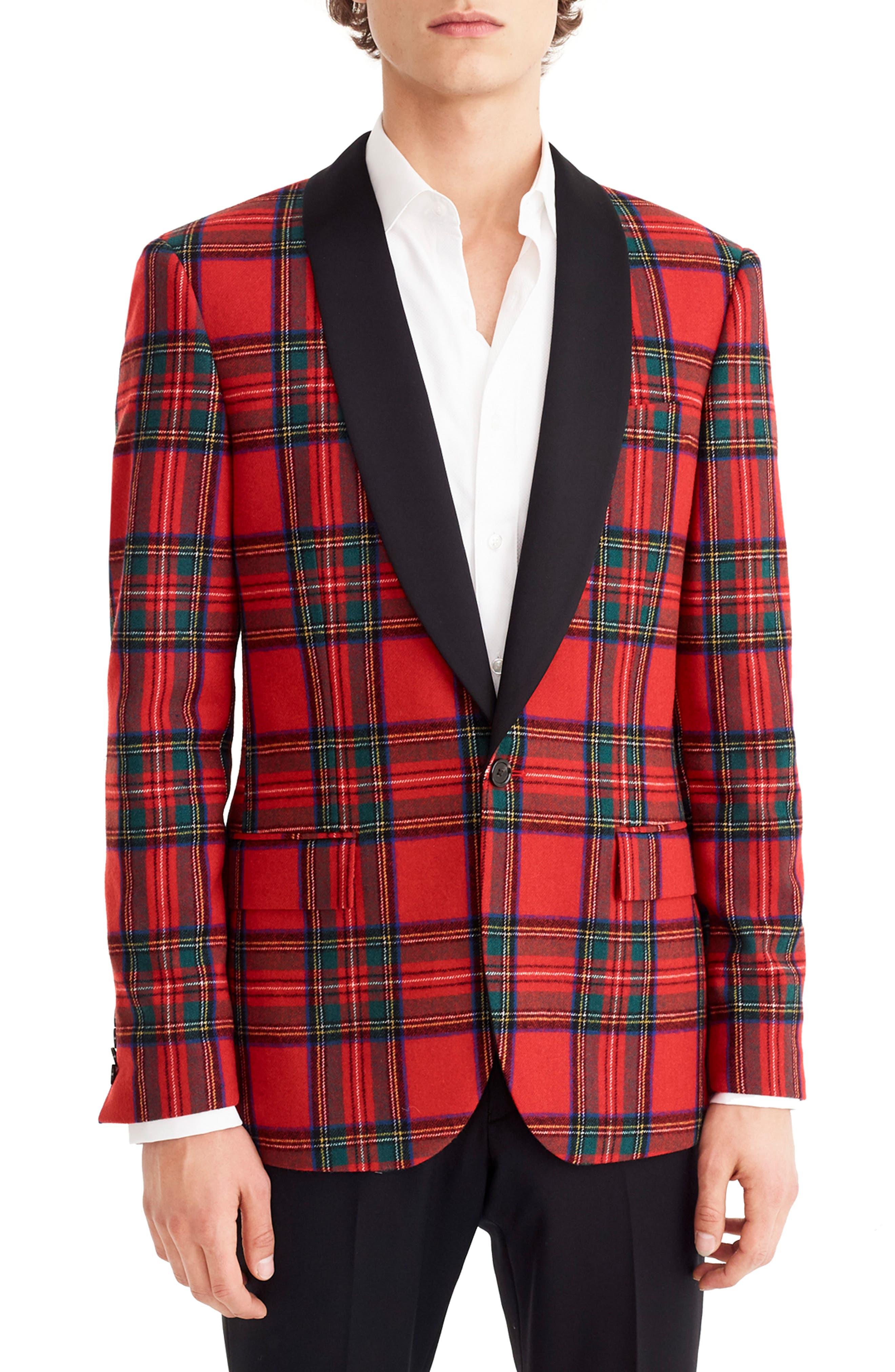 J.CREW Ludlow Slim Fit Tartan Wool Blend Dinner Jacket, Main, color, 600