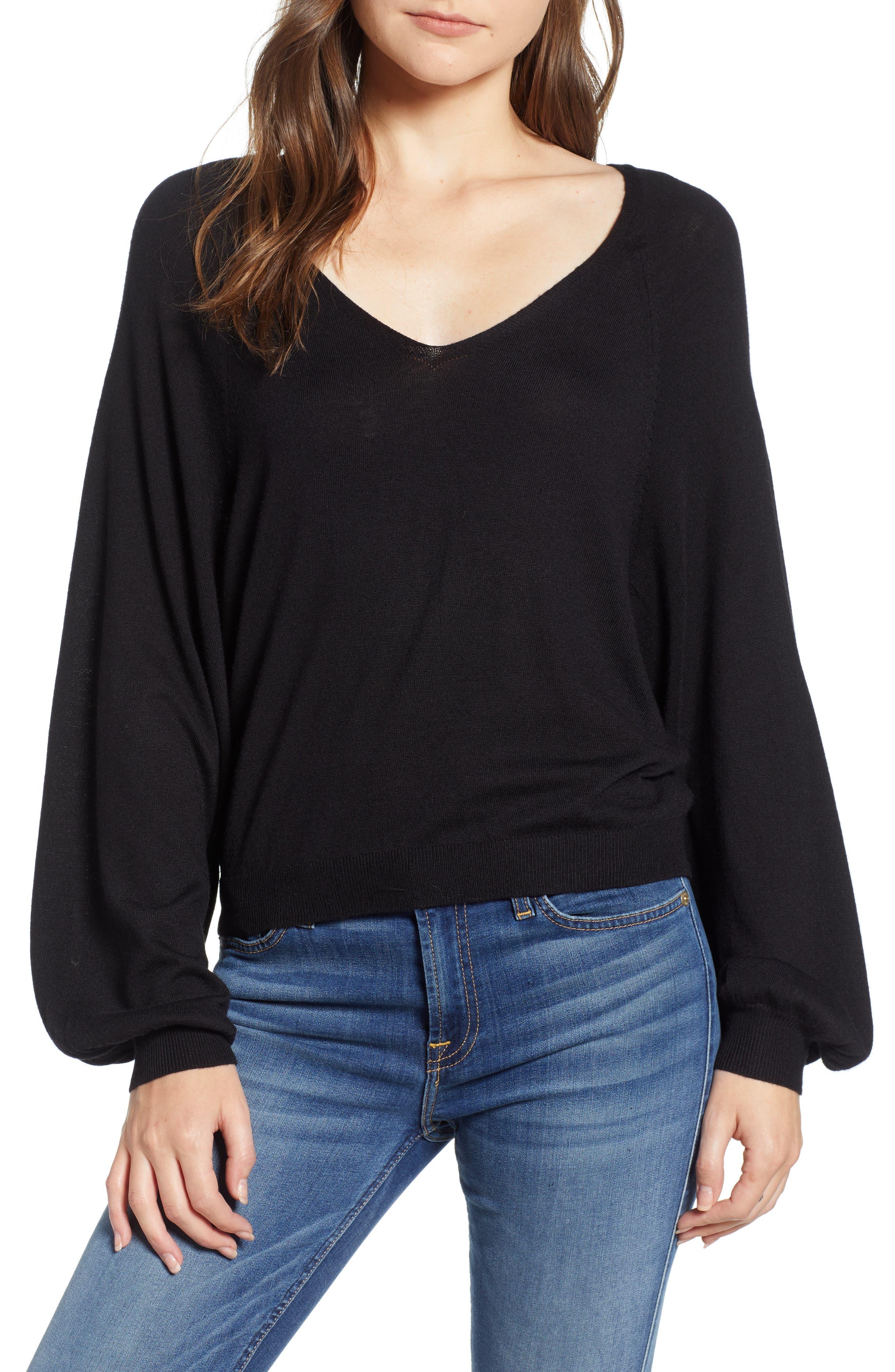 V-Neck Sweater,                             Main thumbnail 1, color,                             BLACK