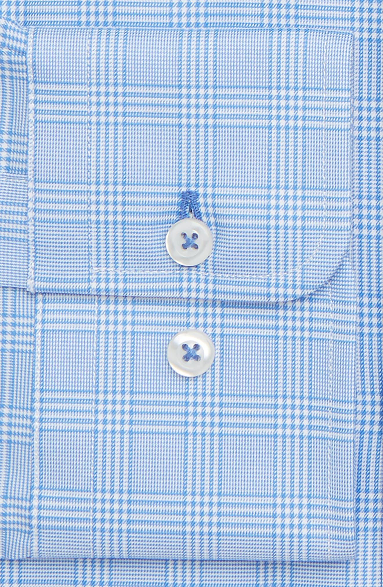 Regular Fit Plaid Dress Shirt,                             Alternate thumbnail 6, color,                             BLUE
