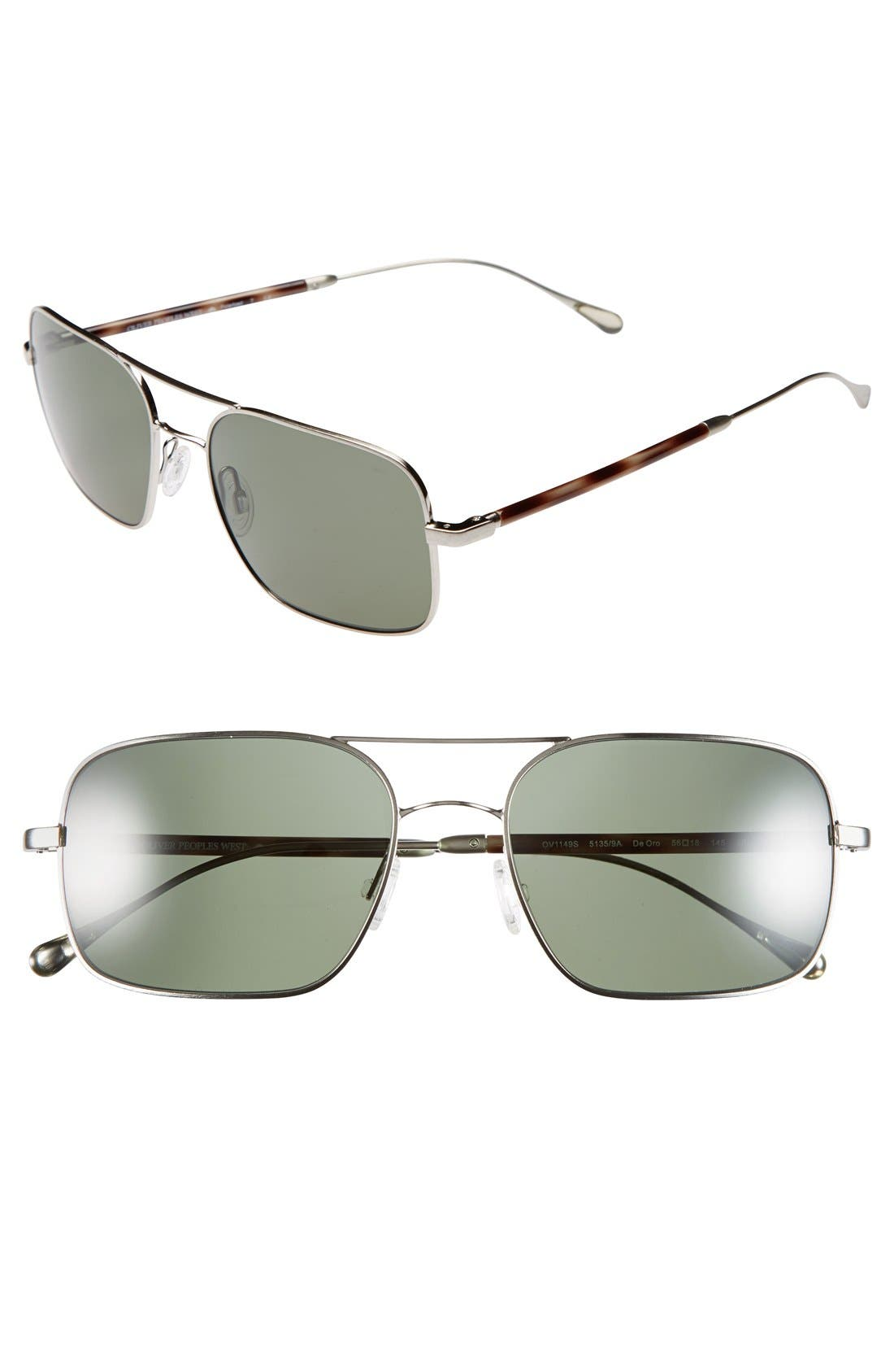 OLIVER PEOPLES West 'De Oro' 56mm Polarized Metal Aviator Sunglasses, Main, color, 040