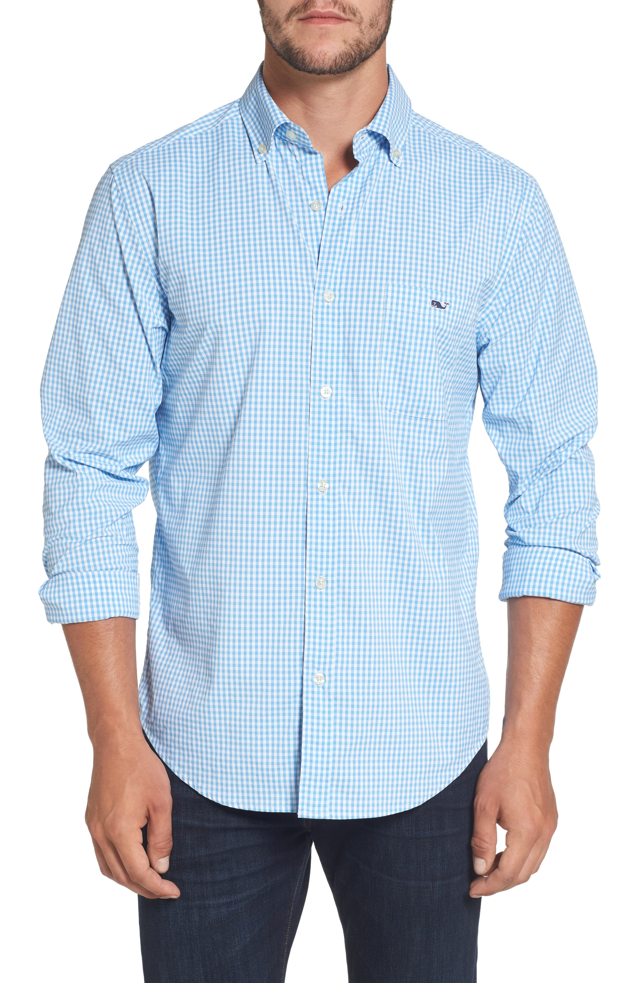 Seawater Gingham Performance Sport Shirt,                         Main,                         color, 496