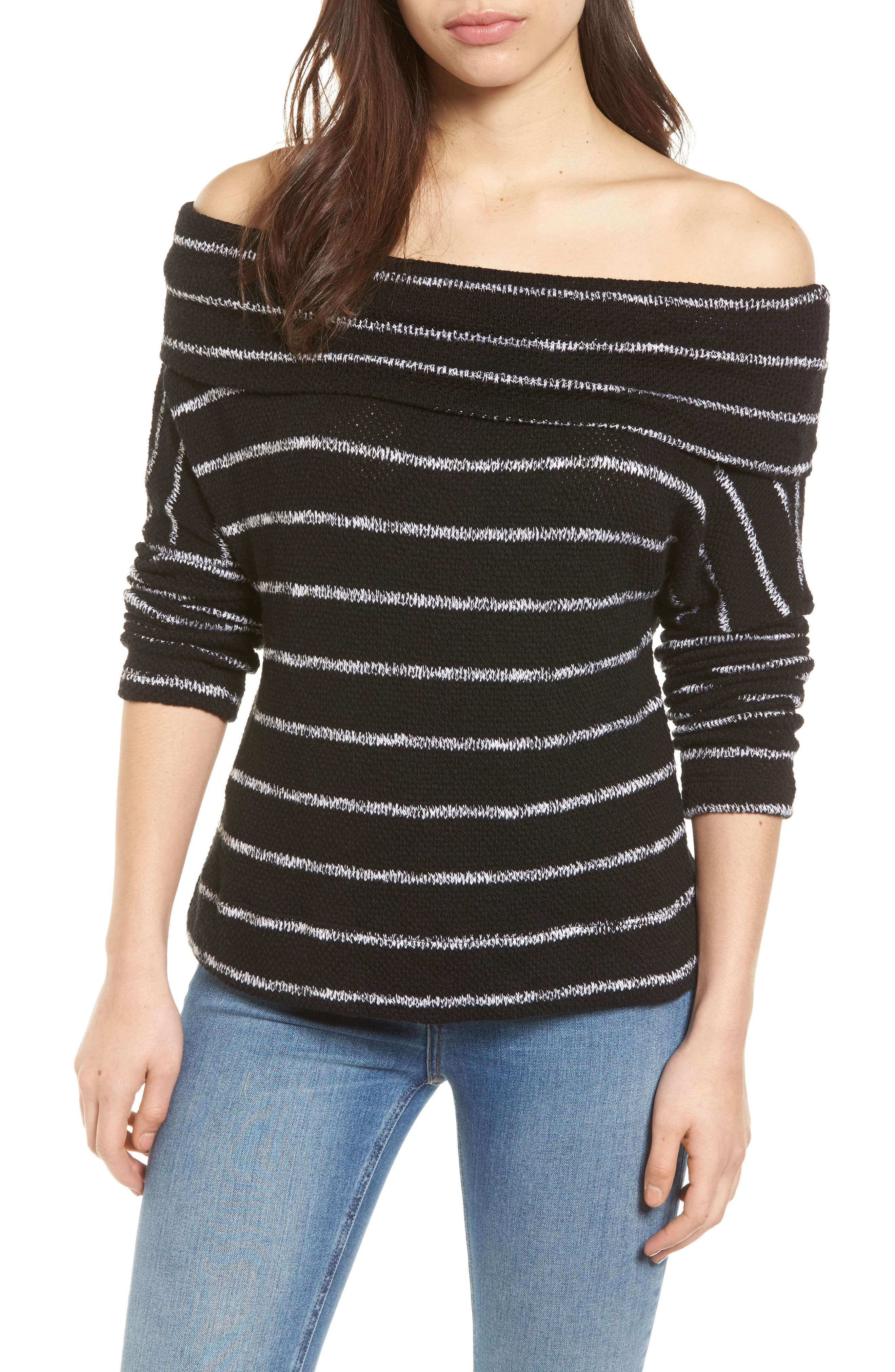 Convertible Neck Knit Pullover,                         Main,                         color, 001