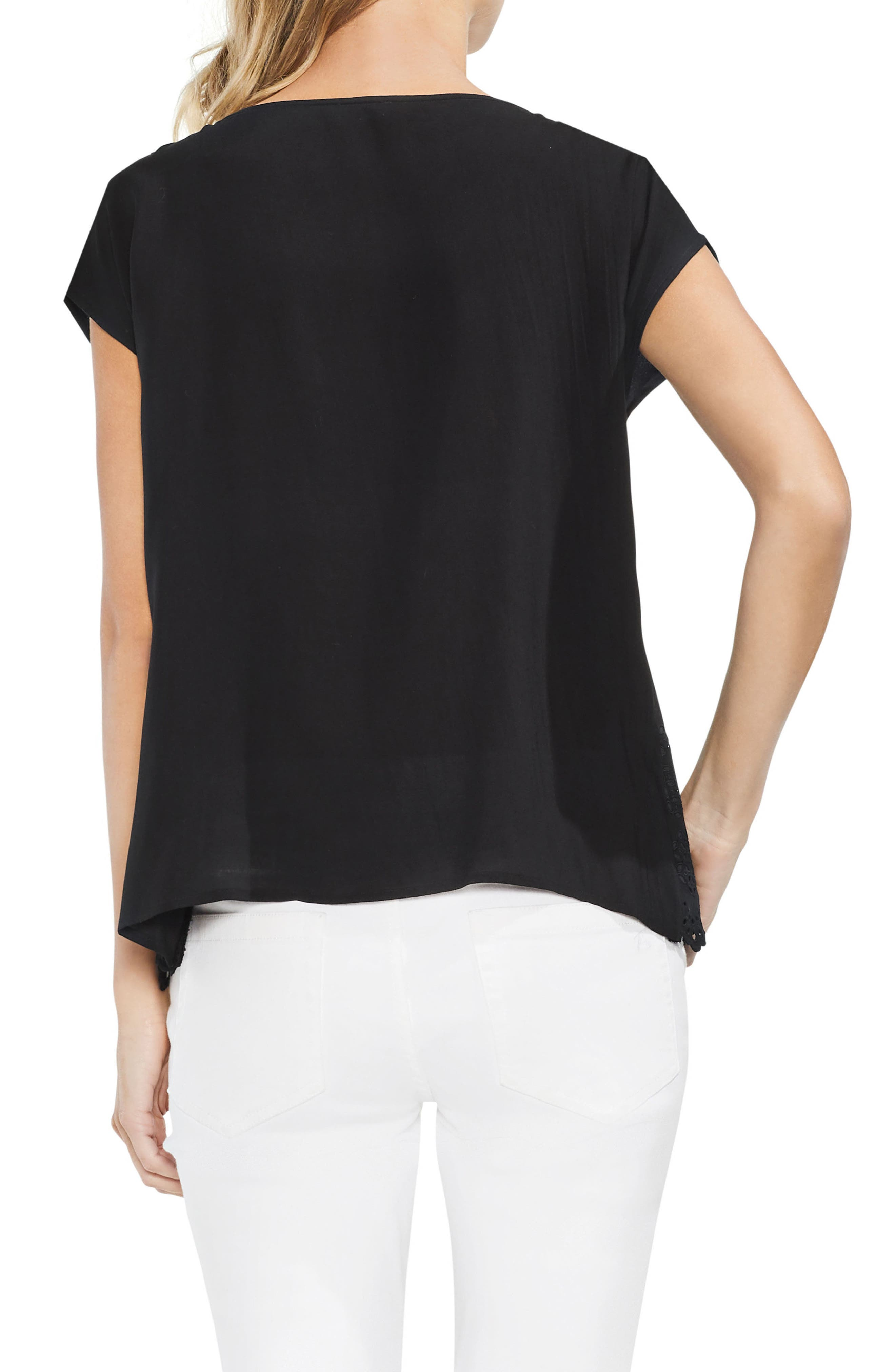 VINCE CAMUTO,                             Scalloped Eyelet Top,                             Alternate thumbnail 2, color,                             001