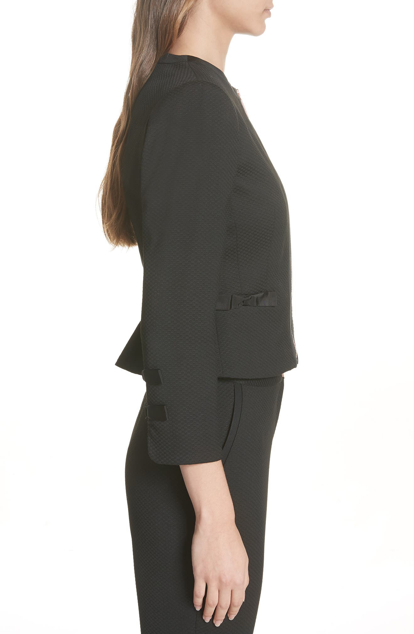Ted Working Title Nadae Cropped Textured Jacket,                             Alternate thumbnail 3, color,                             BLACK