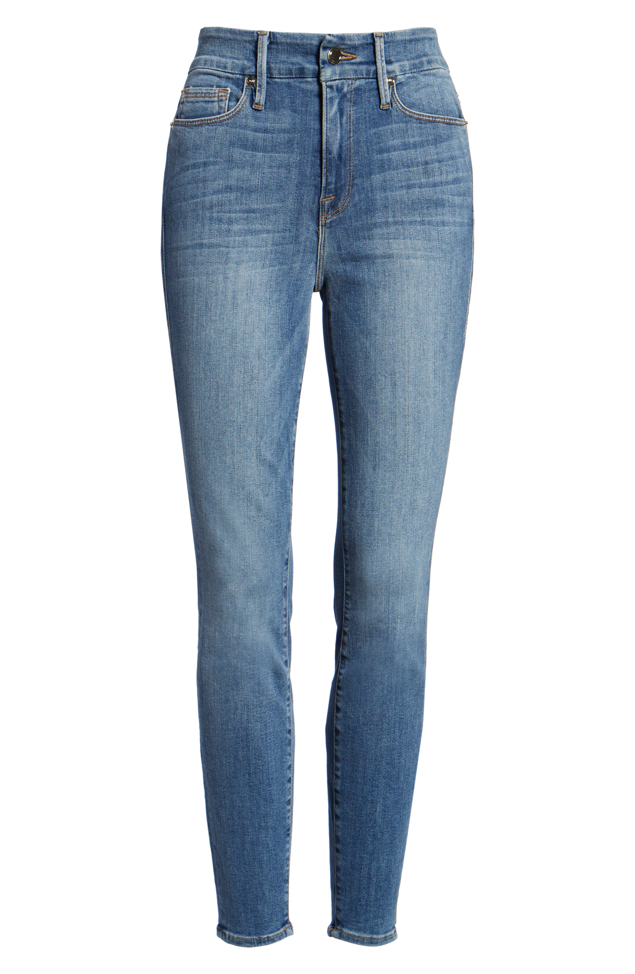 Good Legs High Waist Skinny Jeans (Blue 107),                             Alternate thumbnail 6, color,                             401
