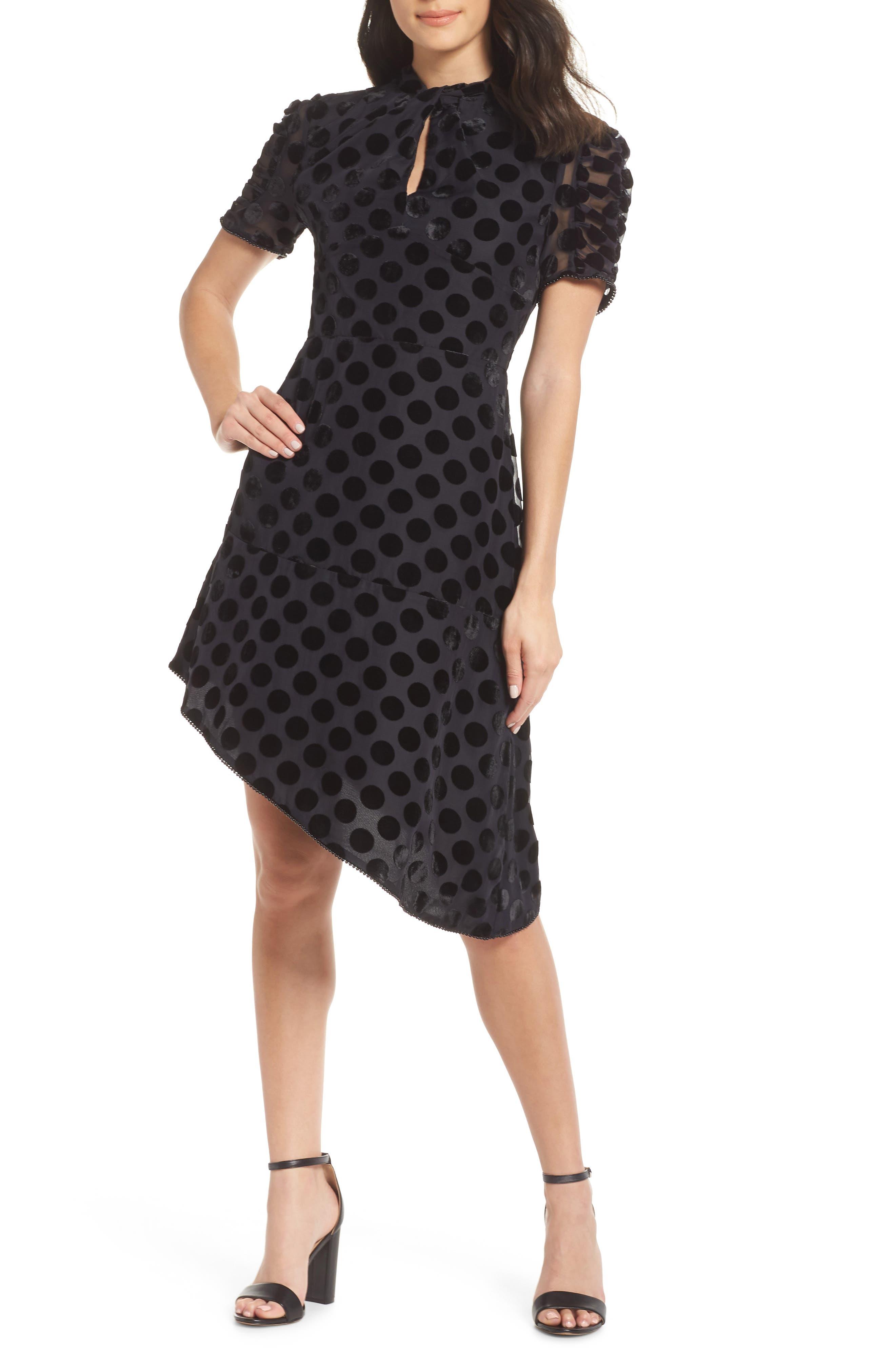 Asymmetrical Velvet Dot Dress,                             Main thumbnail 1, color,                             BLACK