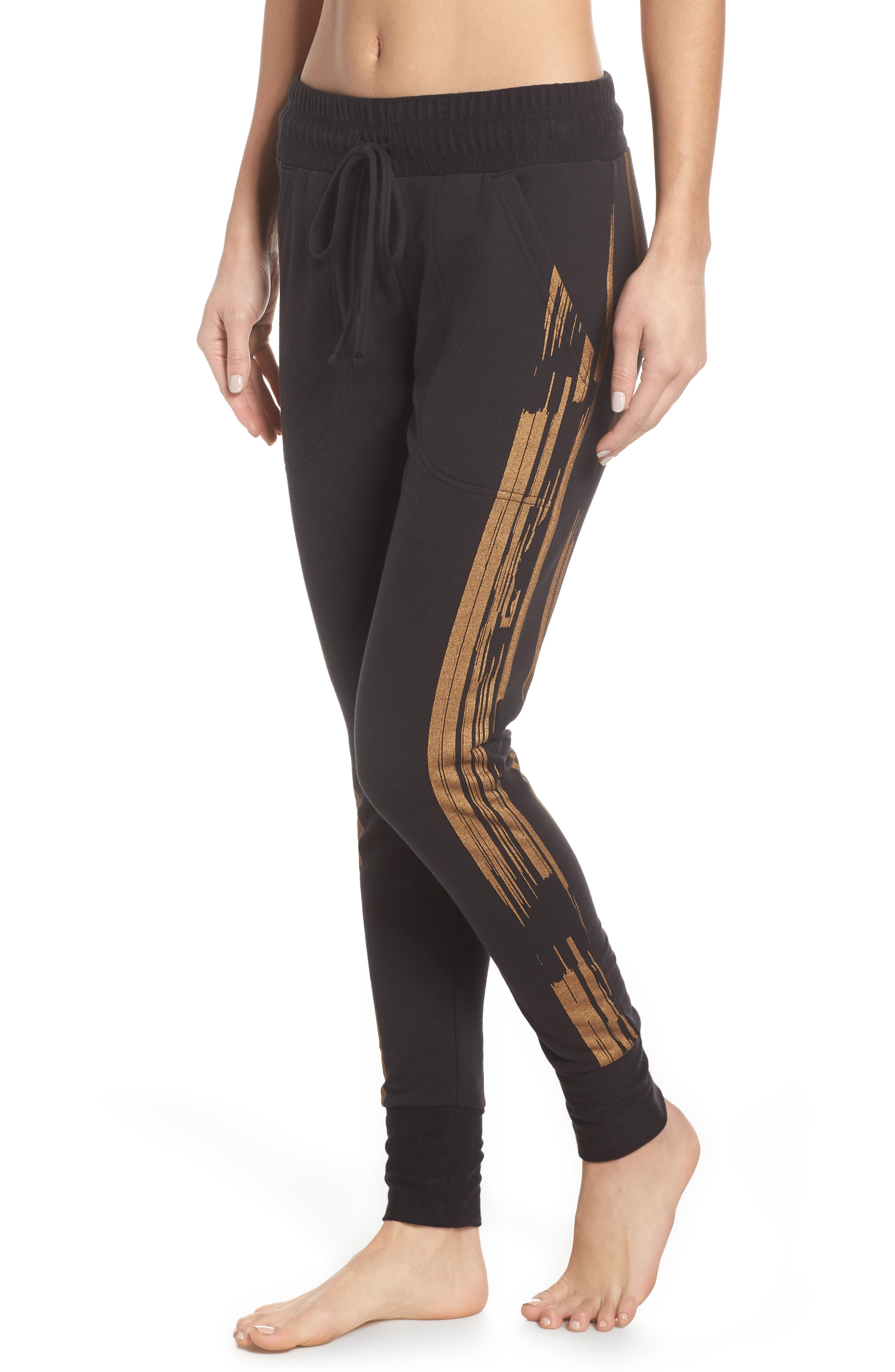 Fp Movement Sunny Skinny Sweat Jogger Pants in Black/ Gold