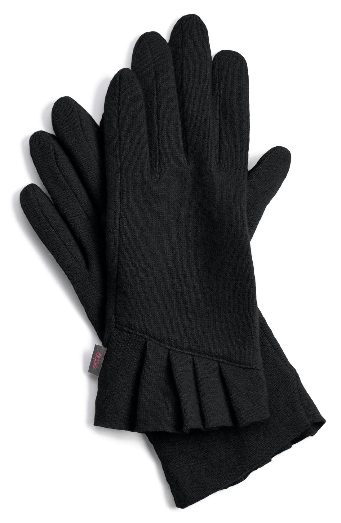 'Touch - Pleated Cuff' Wool Blend Gloves, Main, color, 001