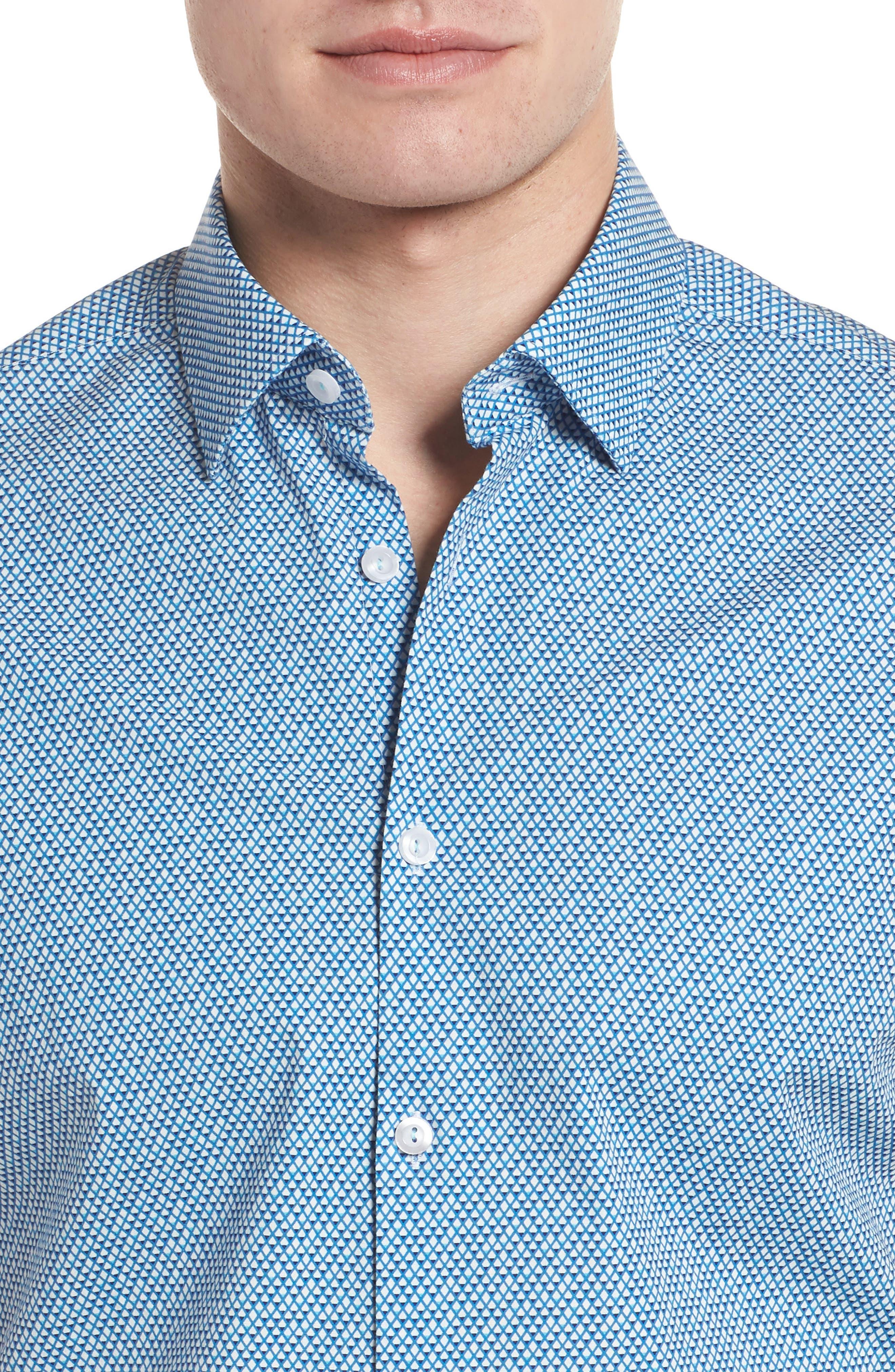 Slim Fit Diamond Print Sport Shirt,                             Alternate thumbnail 4, color,                             435