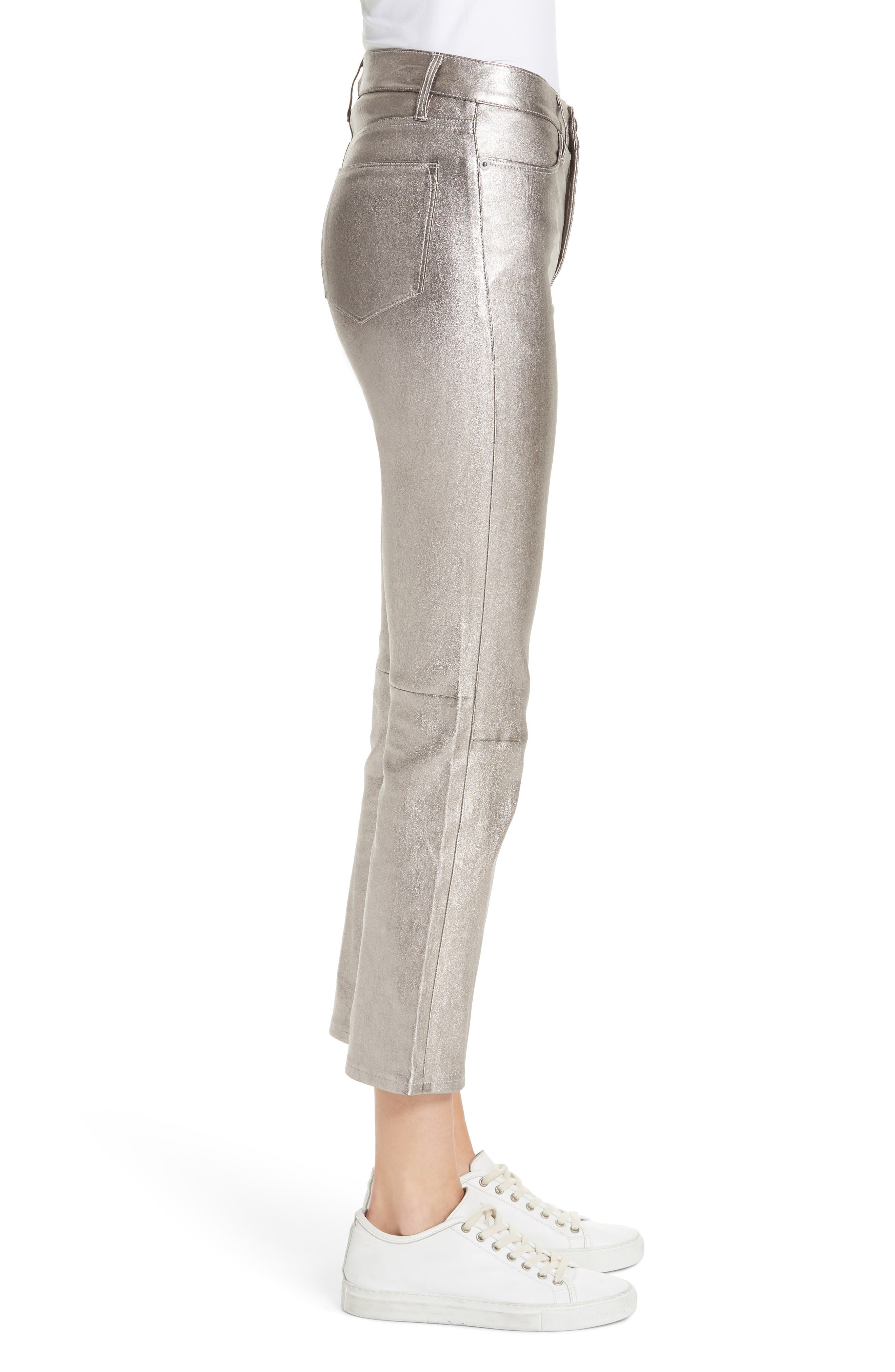 Straight Leg Metallic Leather Pants,                             Alternate thumbnail 3, color,                             LIGHT STEEL