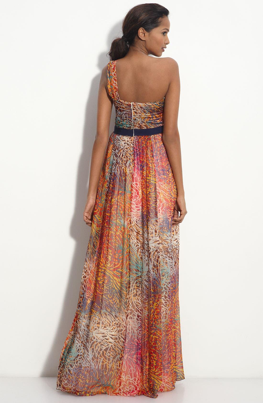 One Shoulder Metallic Chiffon Gown,                             Alternate thumbnail 2, color,                             664