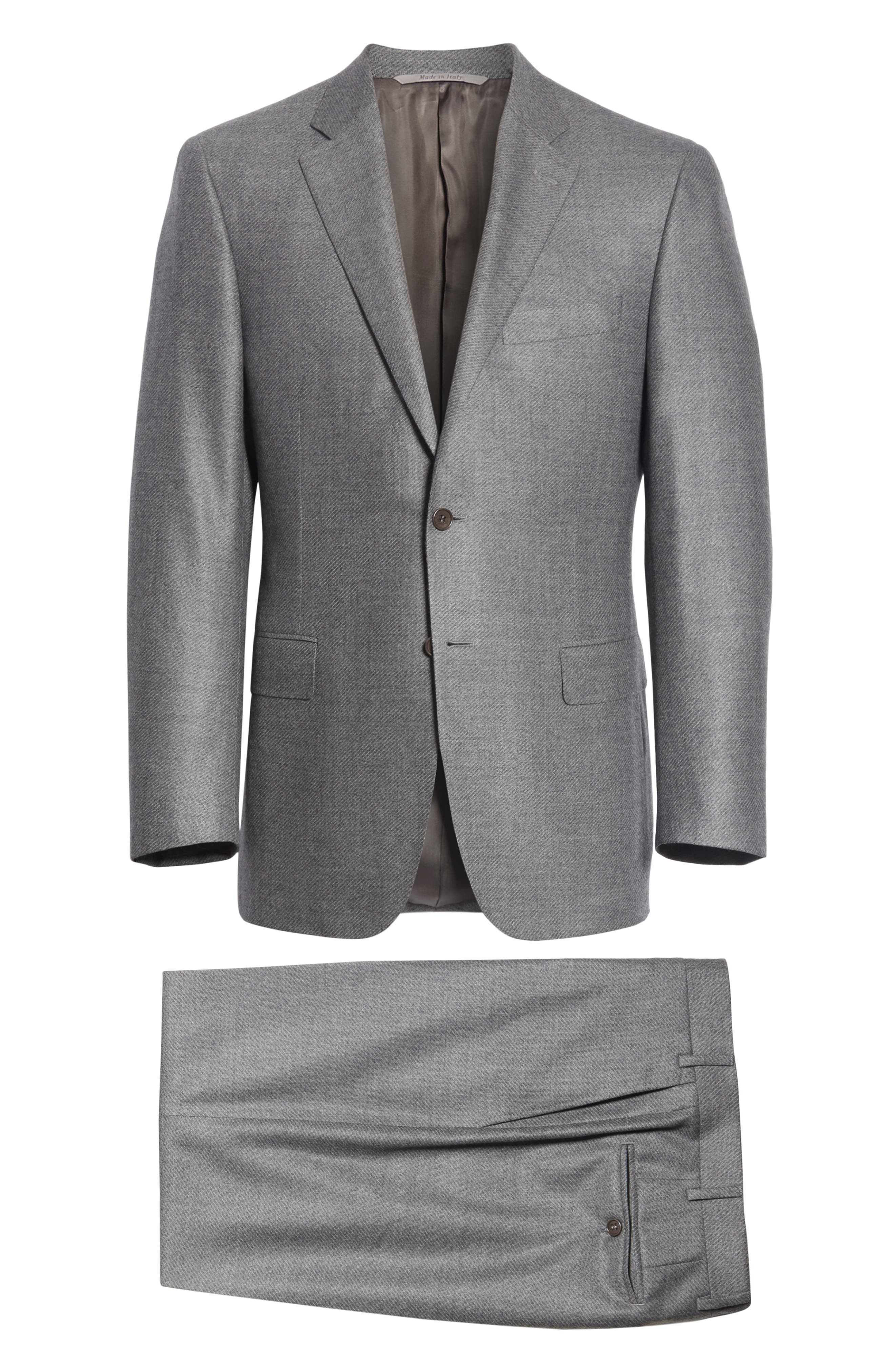 Classic Fit Stretch Solid Wool Suit,                             Alternate thumbnail 7, color,                             MED GREY