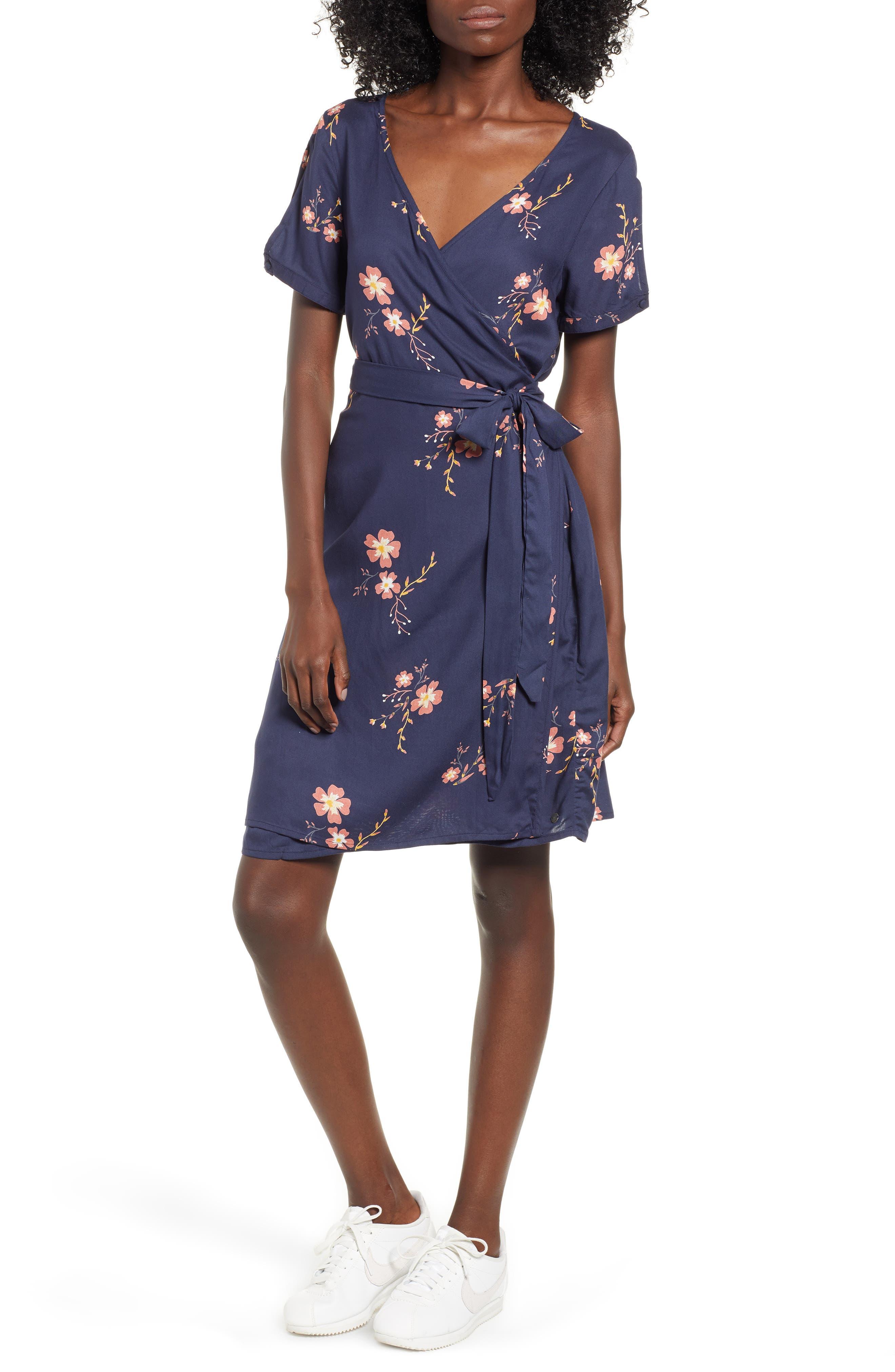 Roxy Monument View Floral Print Wrap Dress, Blue