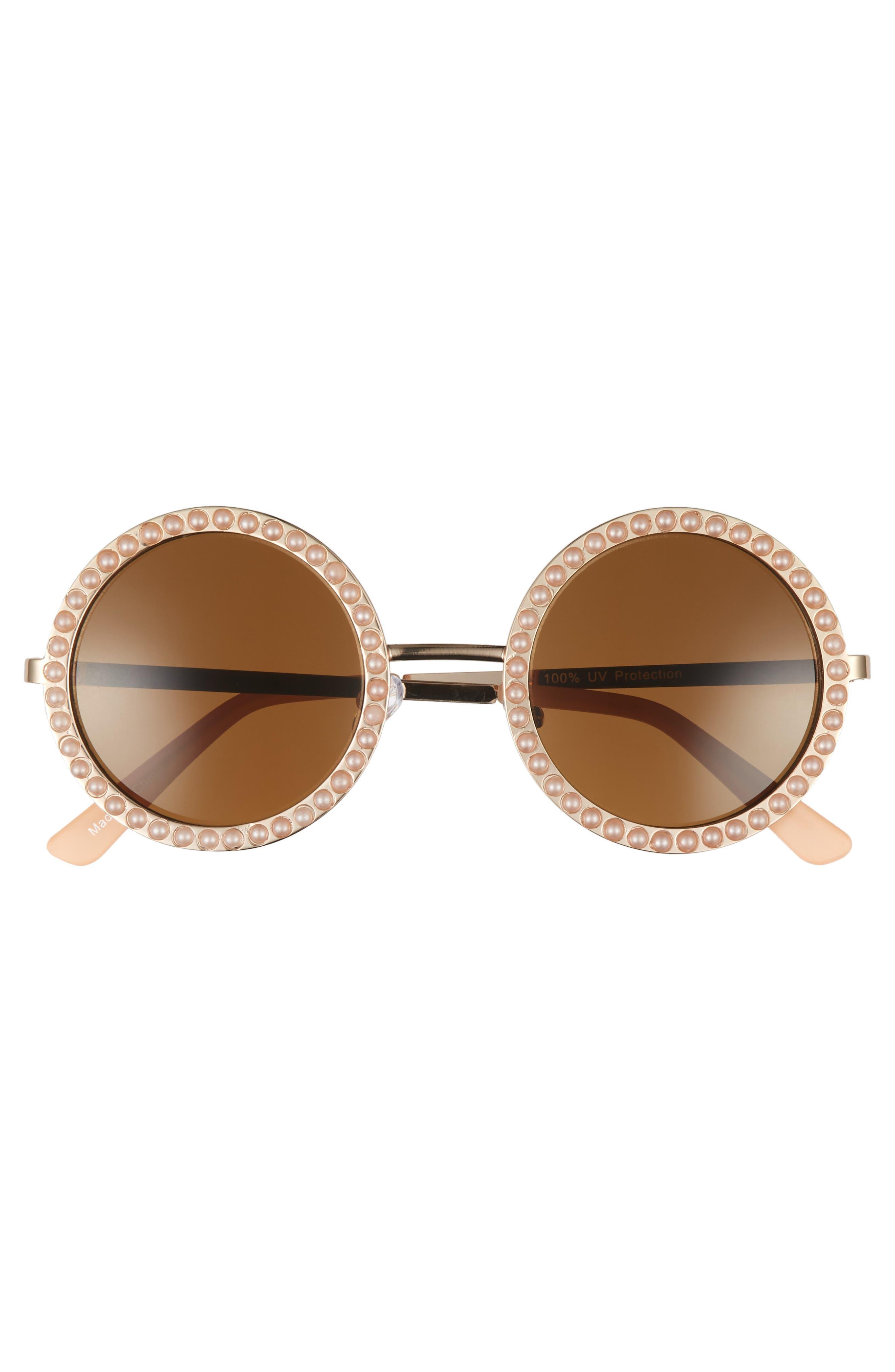 55mm Imitation Pearl Round Sunglasses,                             Alternate thumbnail 3, color,                             710