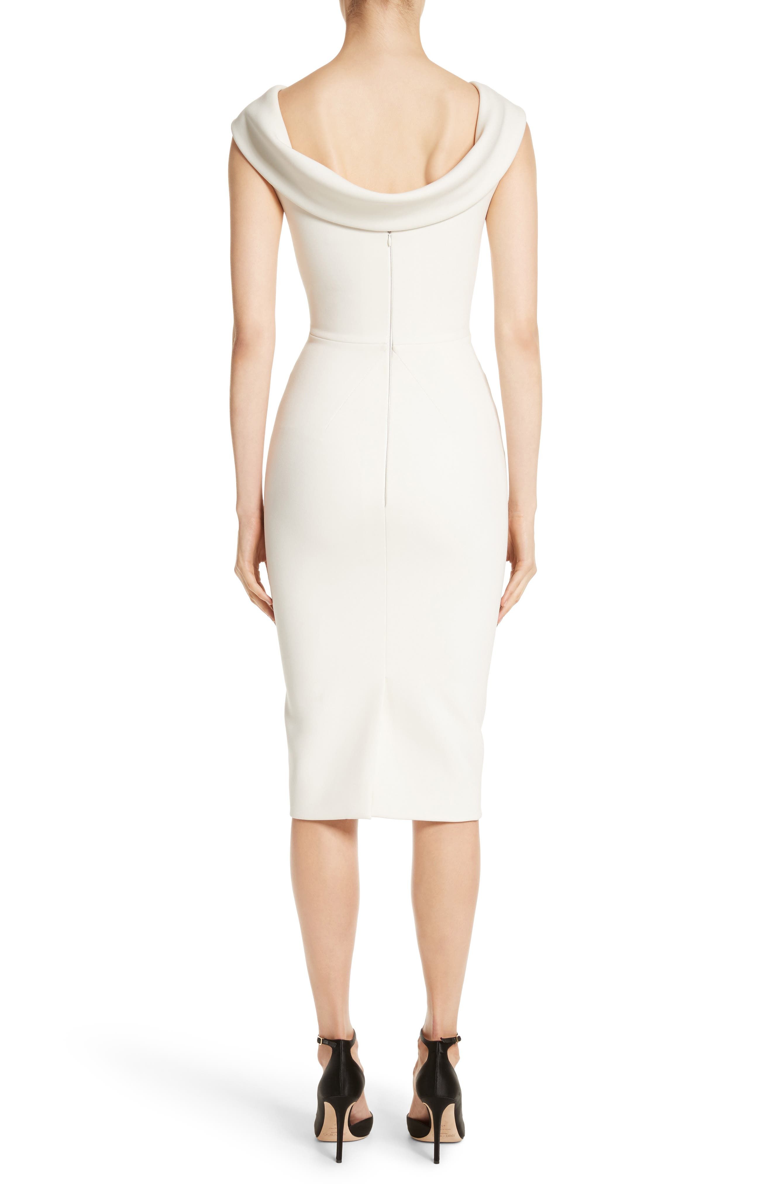 Bonded Crepe Cowl Neck Sheath Dress,                             Alternate thumbnail 2, color,                             IVORY