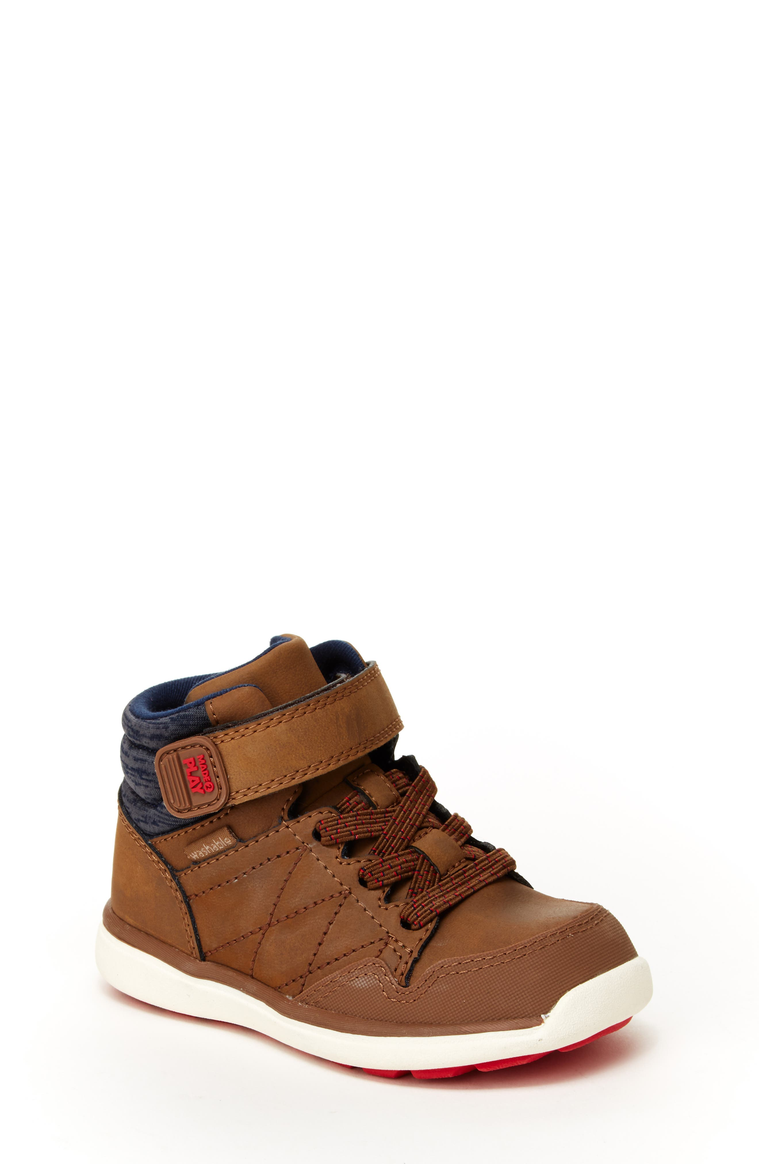 Saul Made2Play<sup>®</sup> Washable High Top Sneaker,                             Main thumbnail 1, color,                             BROWN