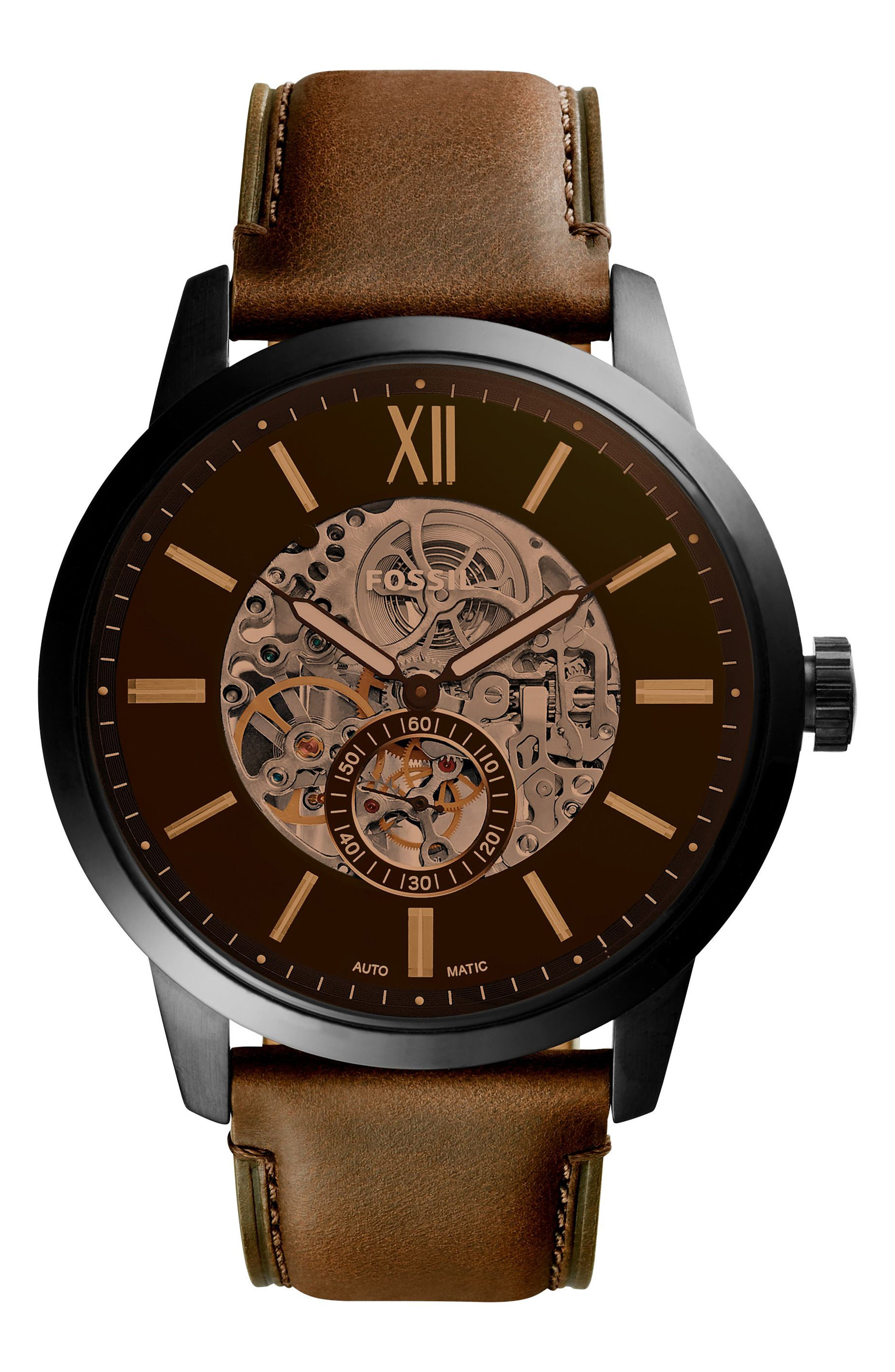 Townsman Automatic Leather Strap Watch, 48mm, Main, color, BROWN/ GUNMETAL/ BROWN