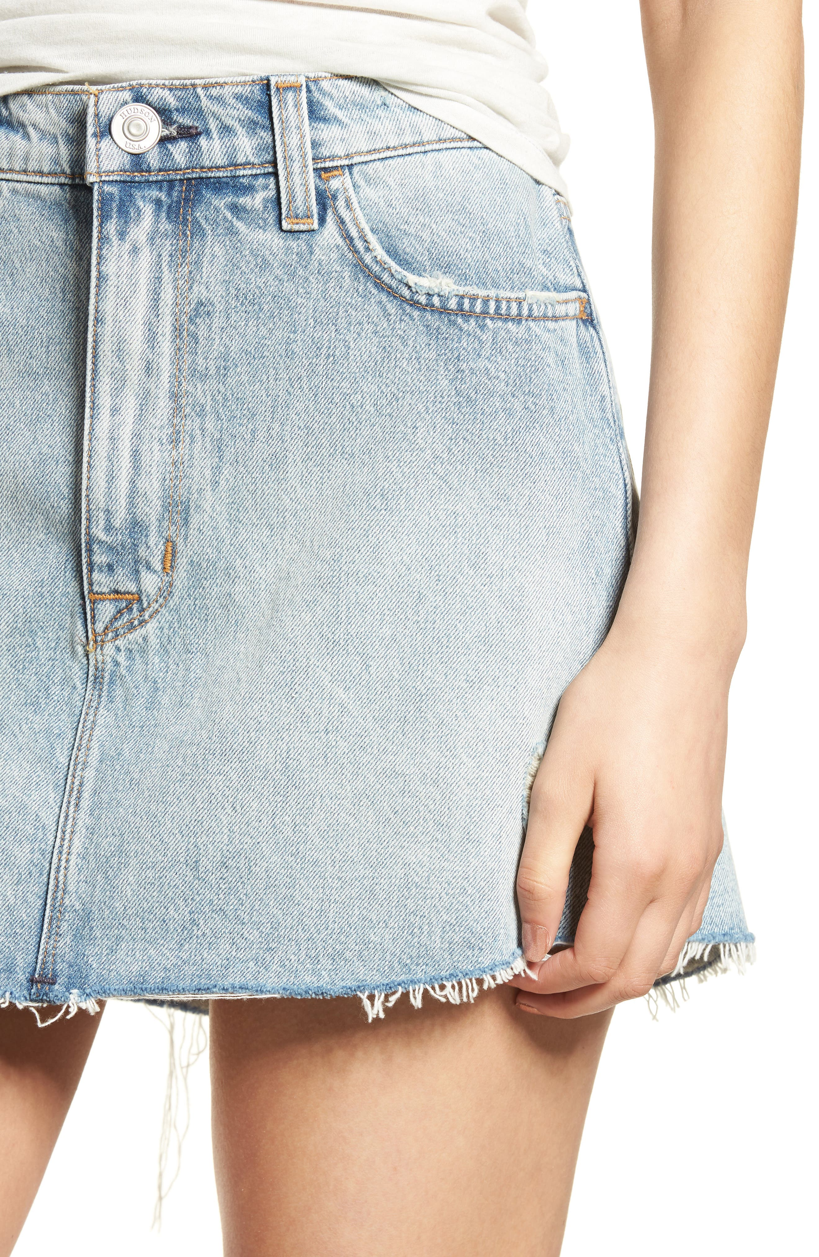 Vivid Cutoff Denim Miniskirt,                             Alternate thumbnail 4, color,                             453